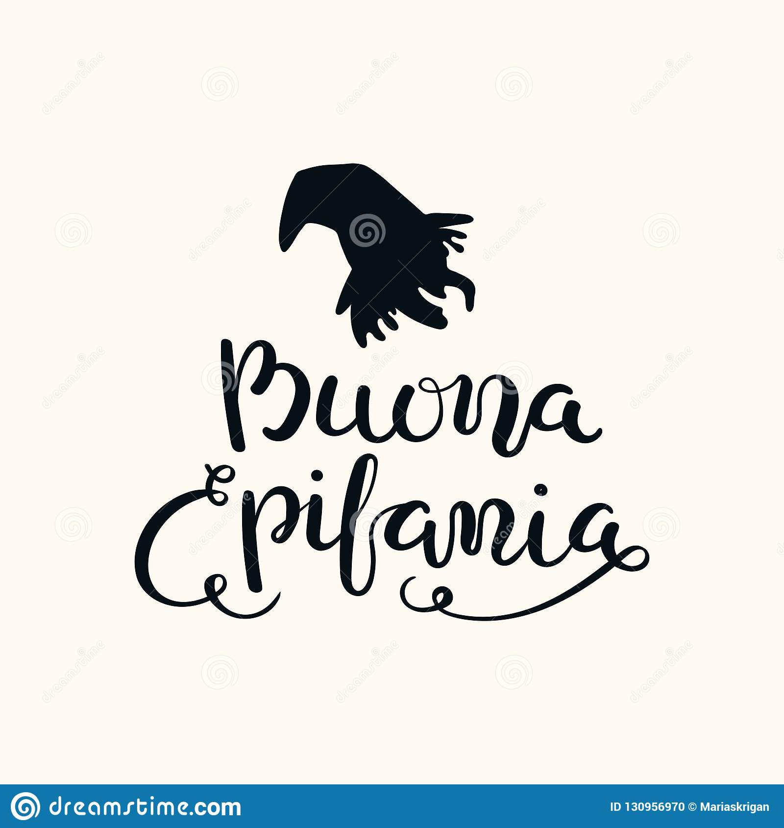 Épiphanie heureuse marquant avec des lettres la citation en italien