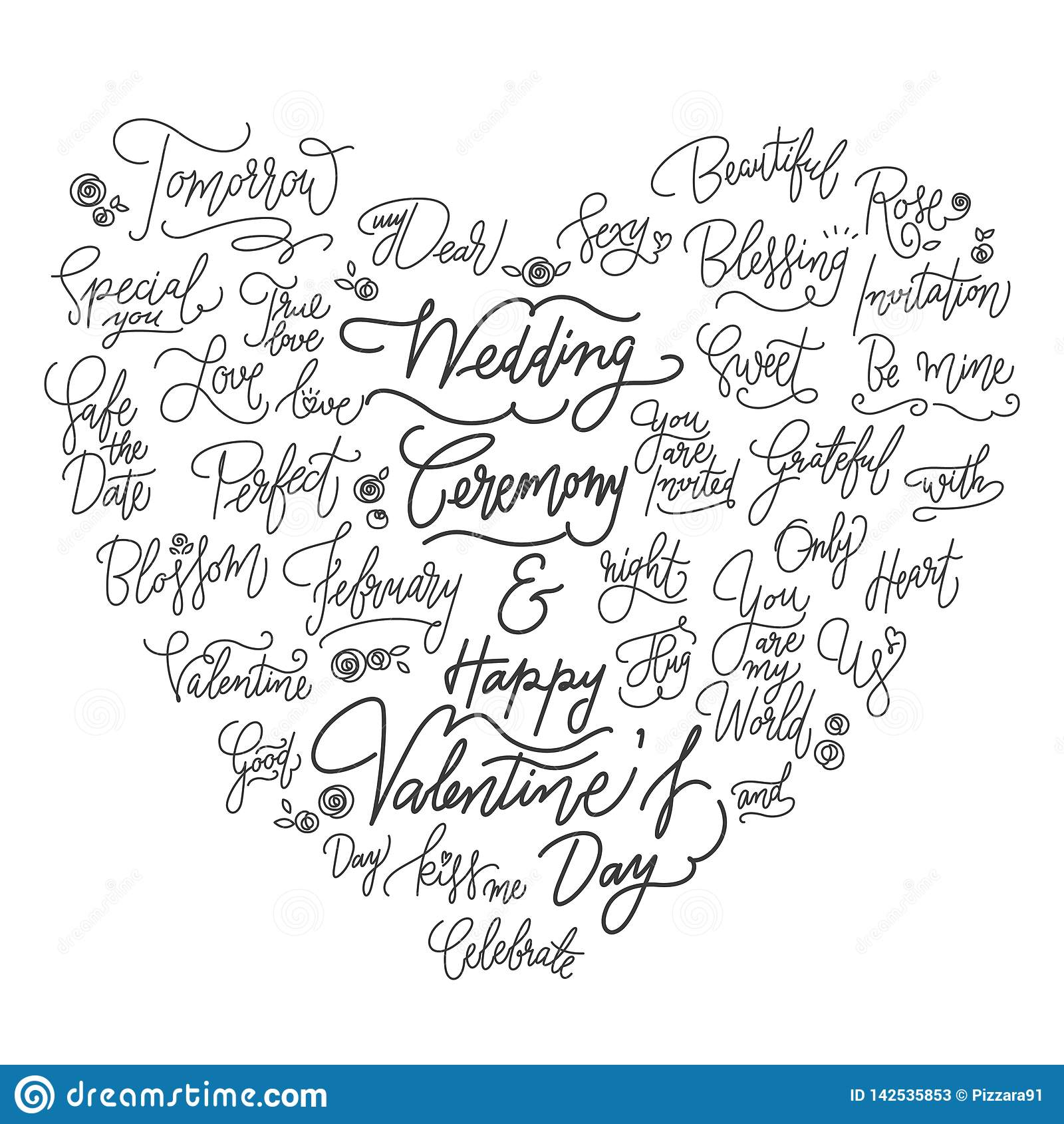 ?pouser de bonnes citations calligraphiques dans la forme de coeur