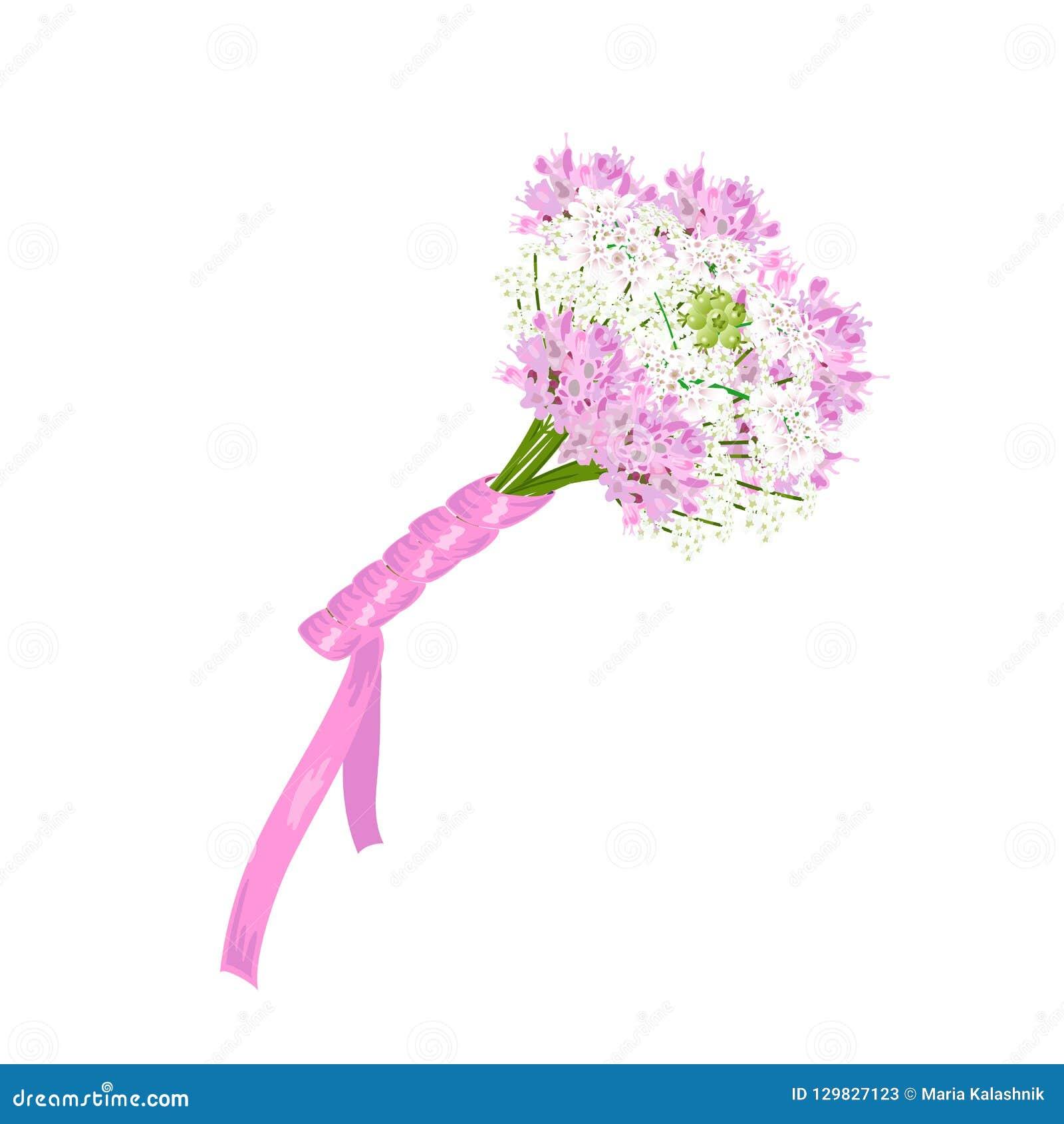 Épouser le bouquet nuptiale de différentes fleurs blanches et roses