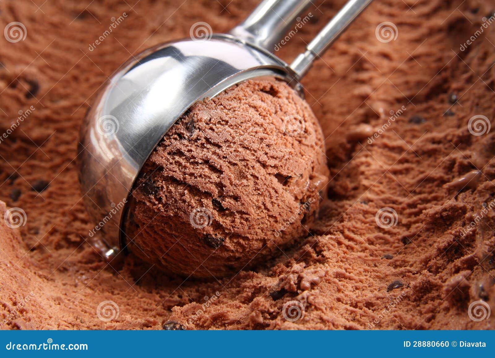Épuisette de crême glacée de chocolat