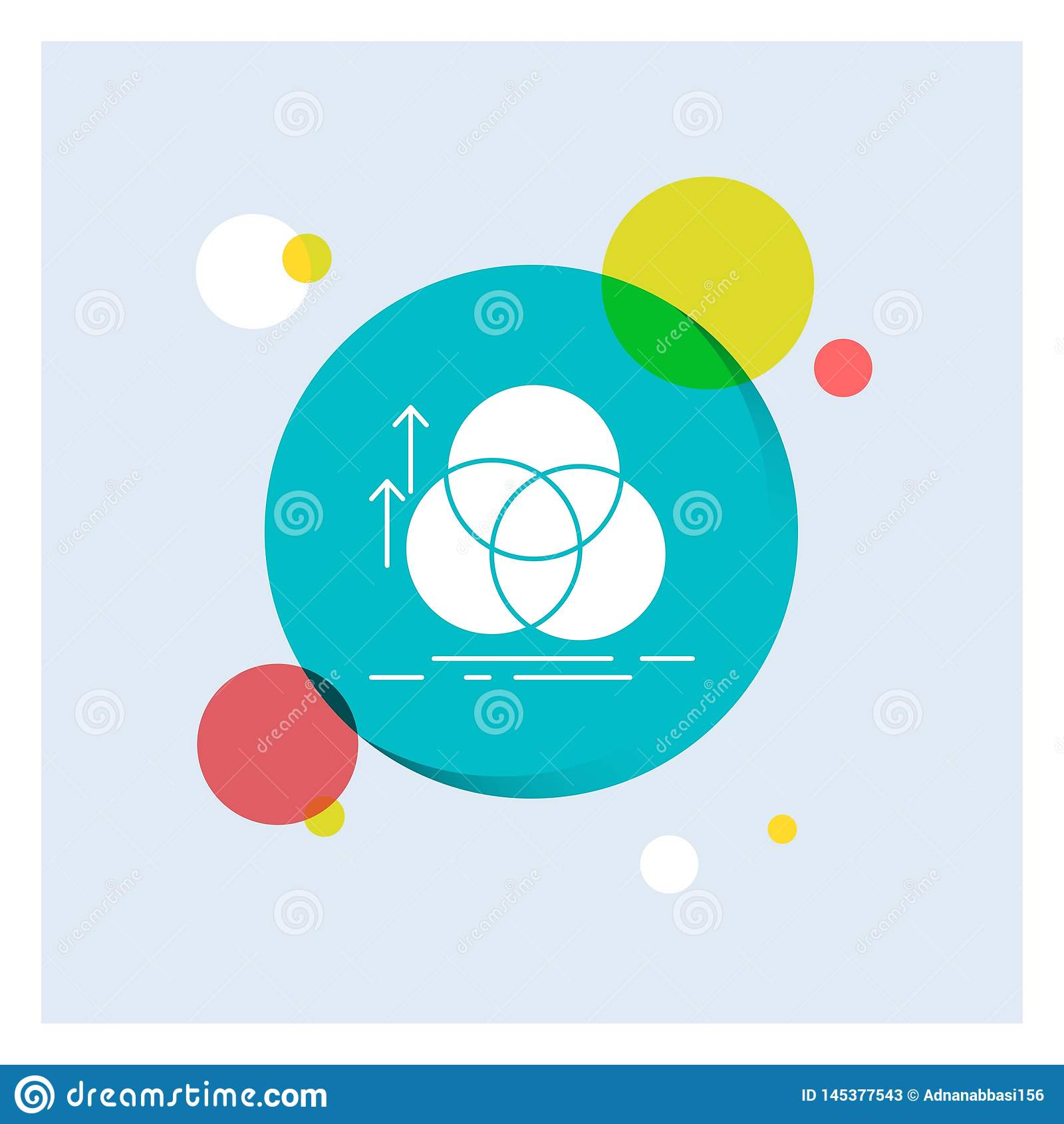 équilibre, cercle, alignement, mesure, fond coloré de cercle d icône blanche de Glyph de la géométrie