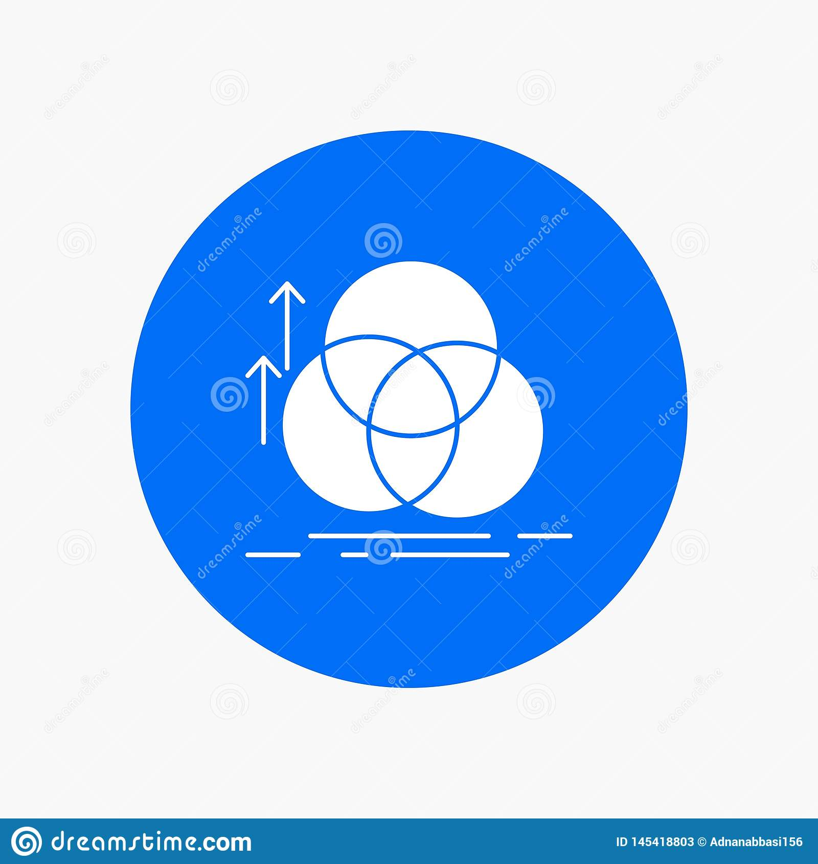 équilibre, cercle, alignement, mesure, icône blanche de Glyph de la géométrie en cercle Illustration de bouton de vecteur