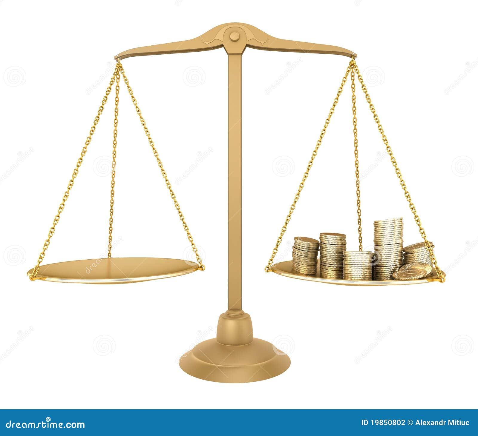 Équilibre d or. Quelque chose égale avec de l argent