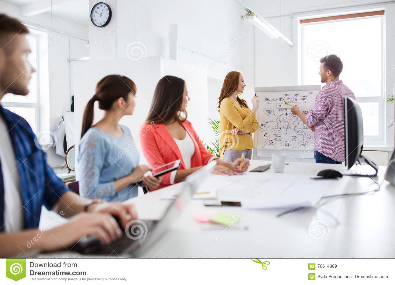 Équipe créative avec le plan sur le conseil de secousse au bureau