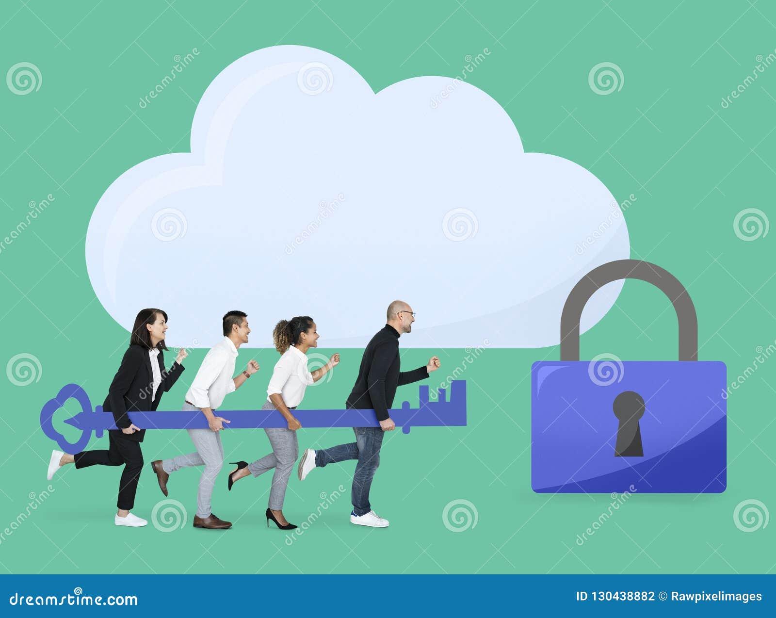 Équipe d affaires avec la sécurité d Internet