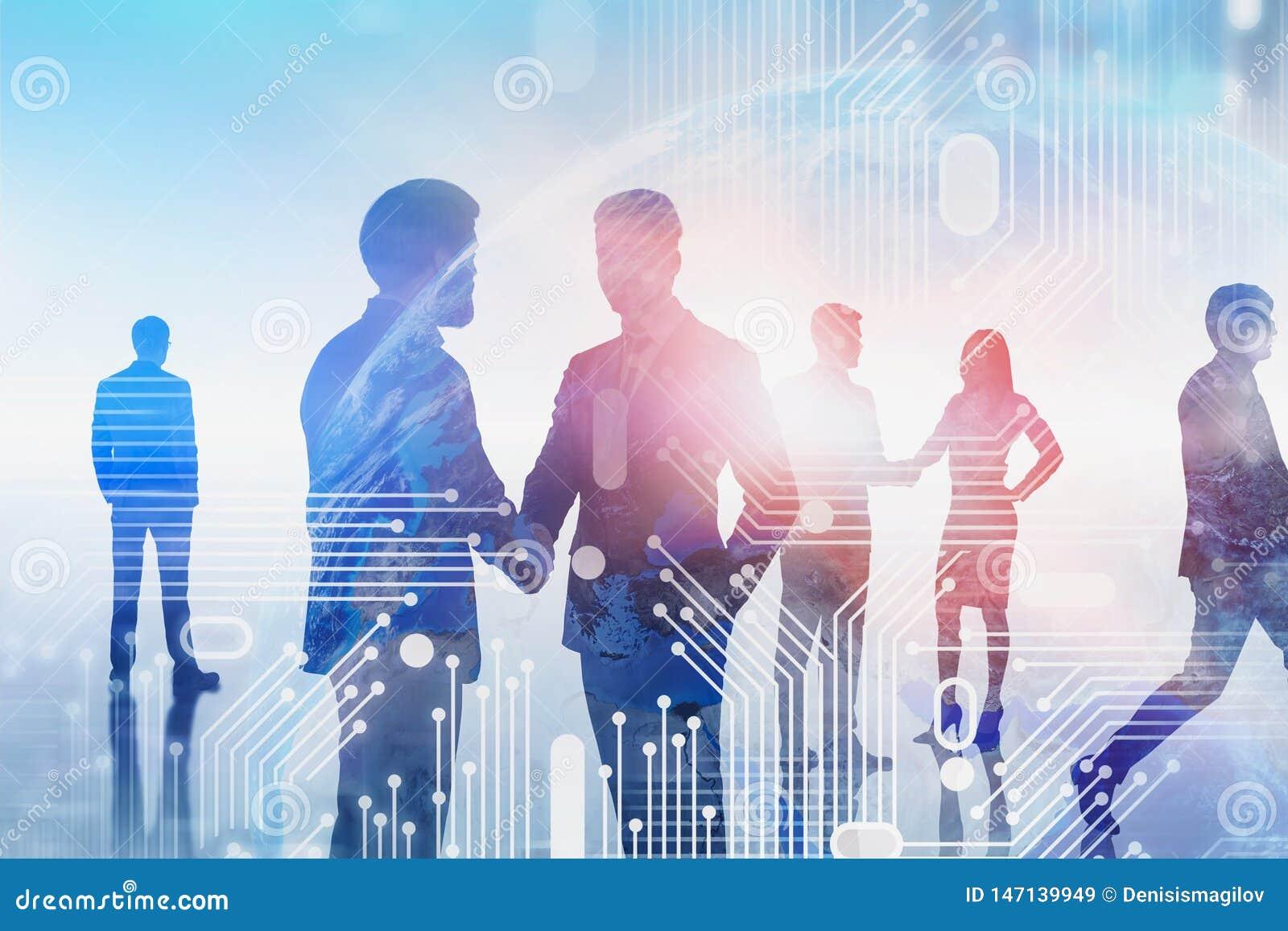 Équipe d affaires communiquant, la terre numérique