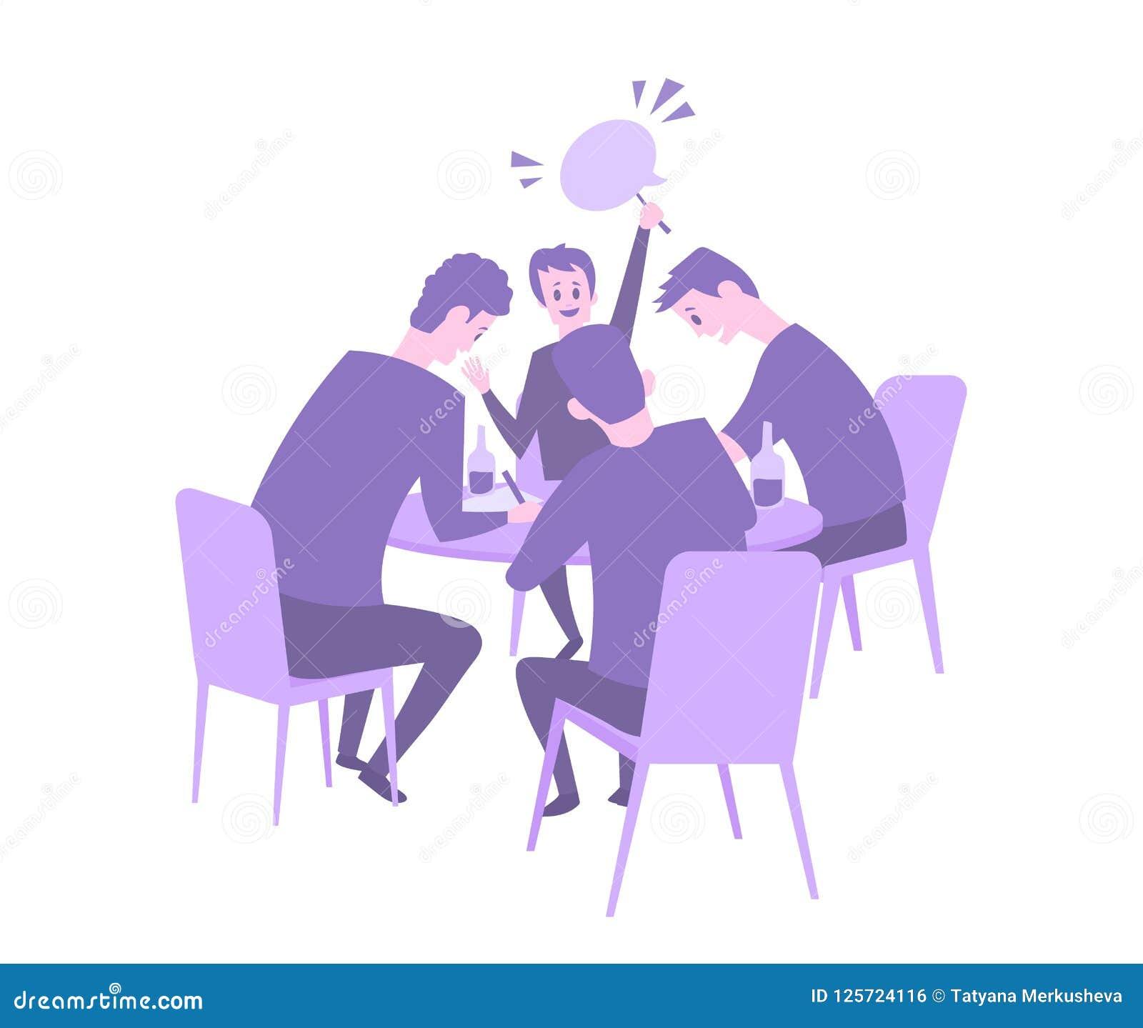 Équipe de jeu-concours donnant la réponse Questionnez la nuit dans la barre, événement de baliverne avec quatre joueurs s asseyan