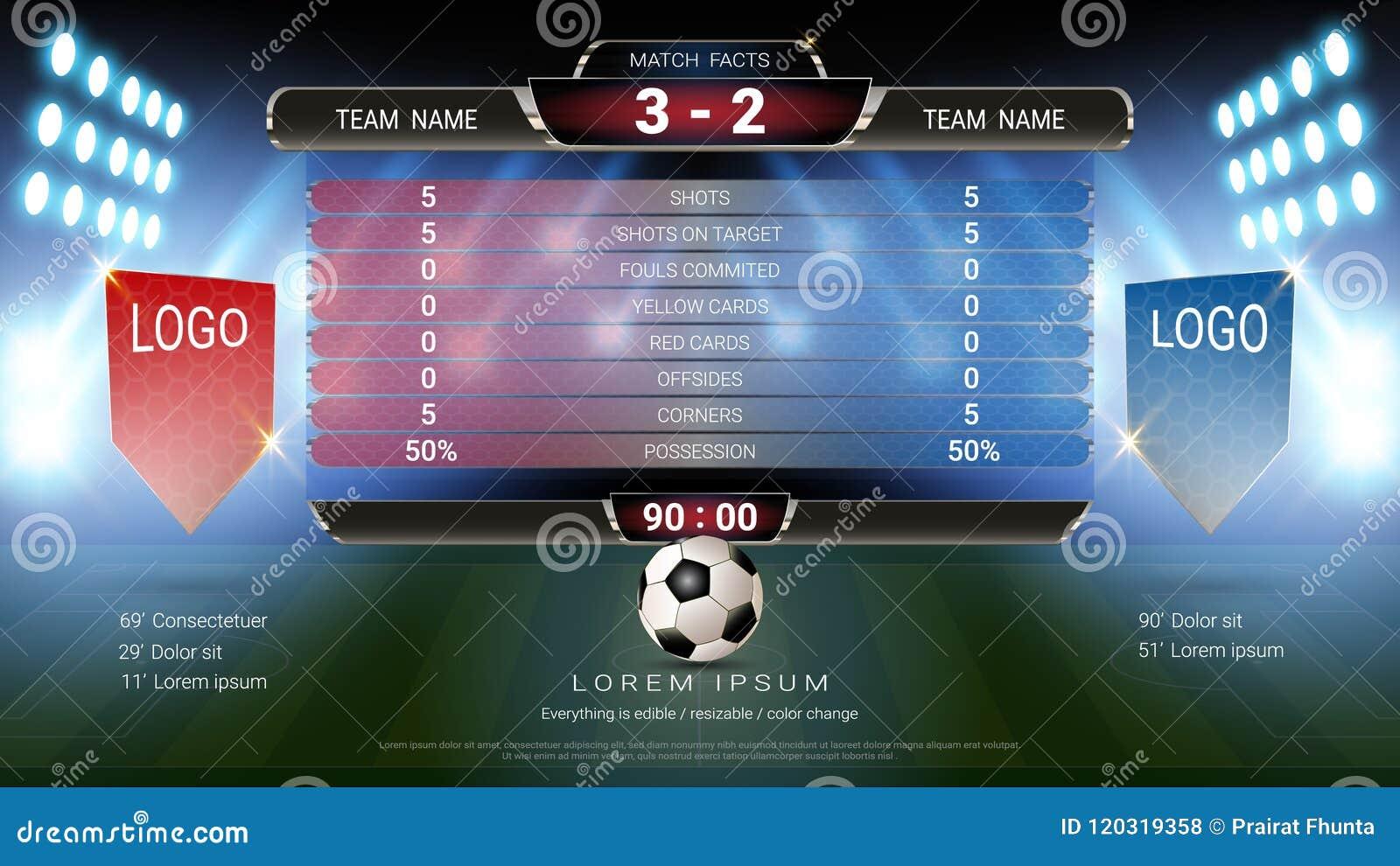 Équipe A de tableau indicateur du football du football contre l équipe B, calibre graphique d émission globale de stat avec le dr