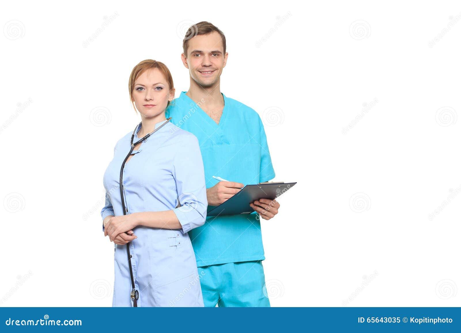 Équipe médicale des médecins, homme et femme, d isolement sur le blanc