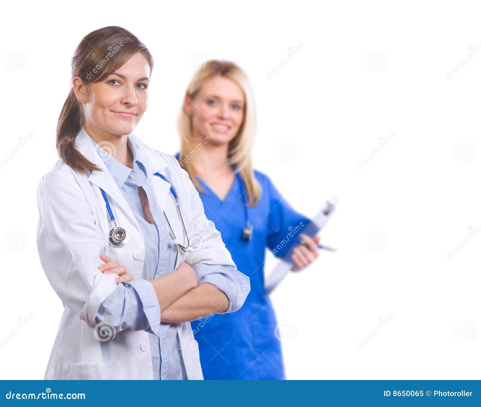 Équipe médicale féminine d isolement sur le blanc