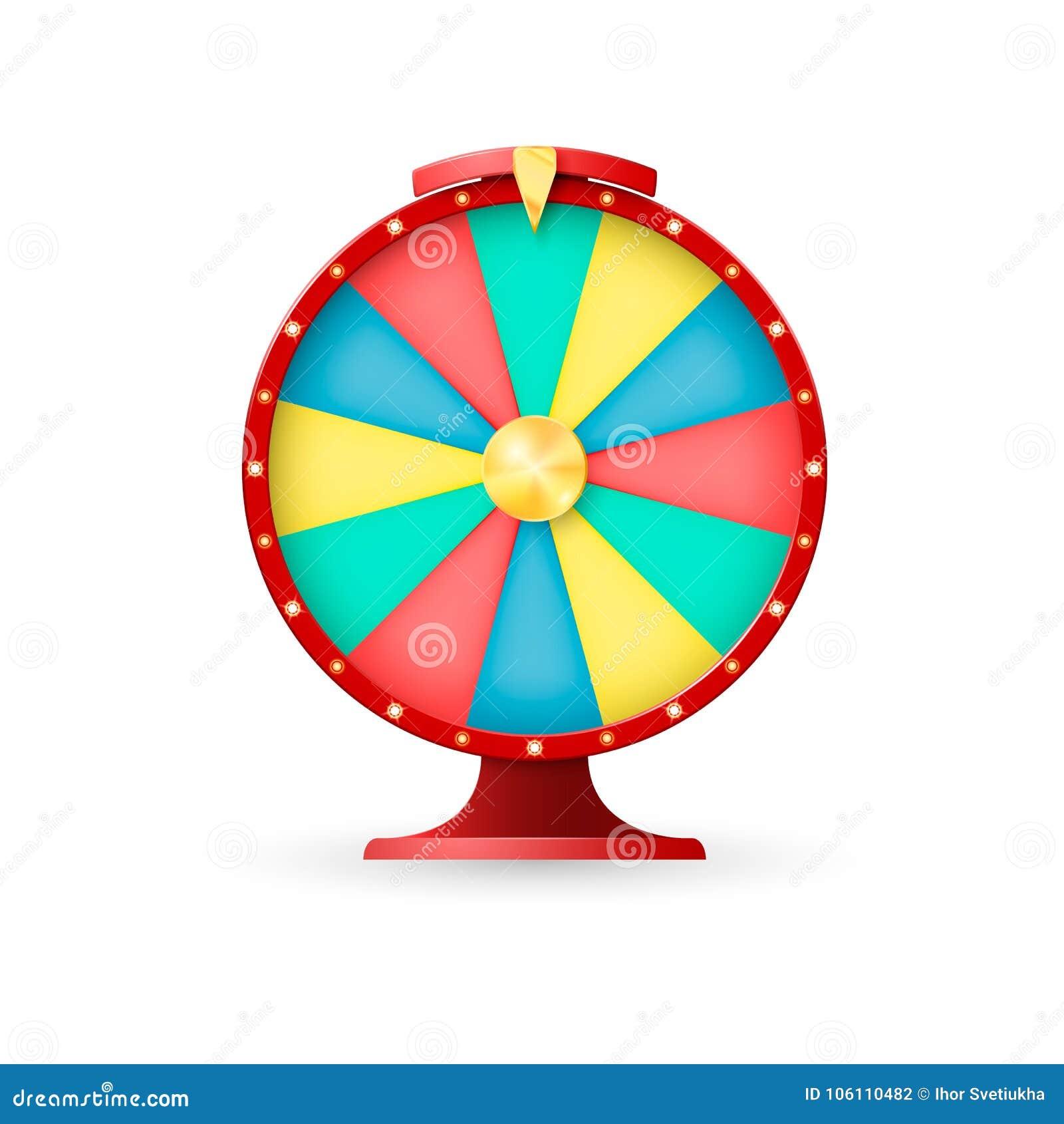 Équipement de casino, roue de la fortune Gagnant lacky de gros lot Illustration de vecteur sur le fond blanc