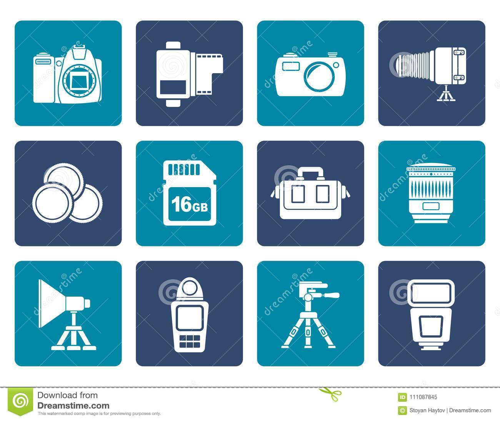 Équipement de photographie et icônes plats d outils