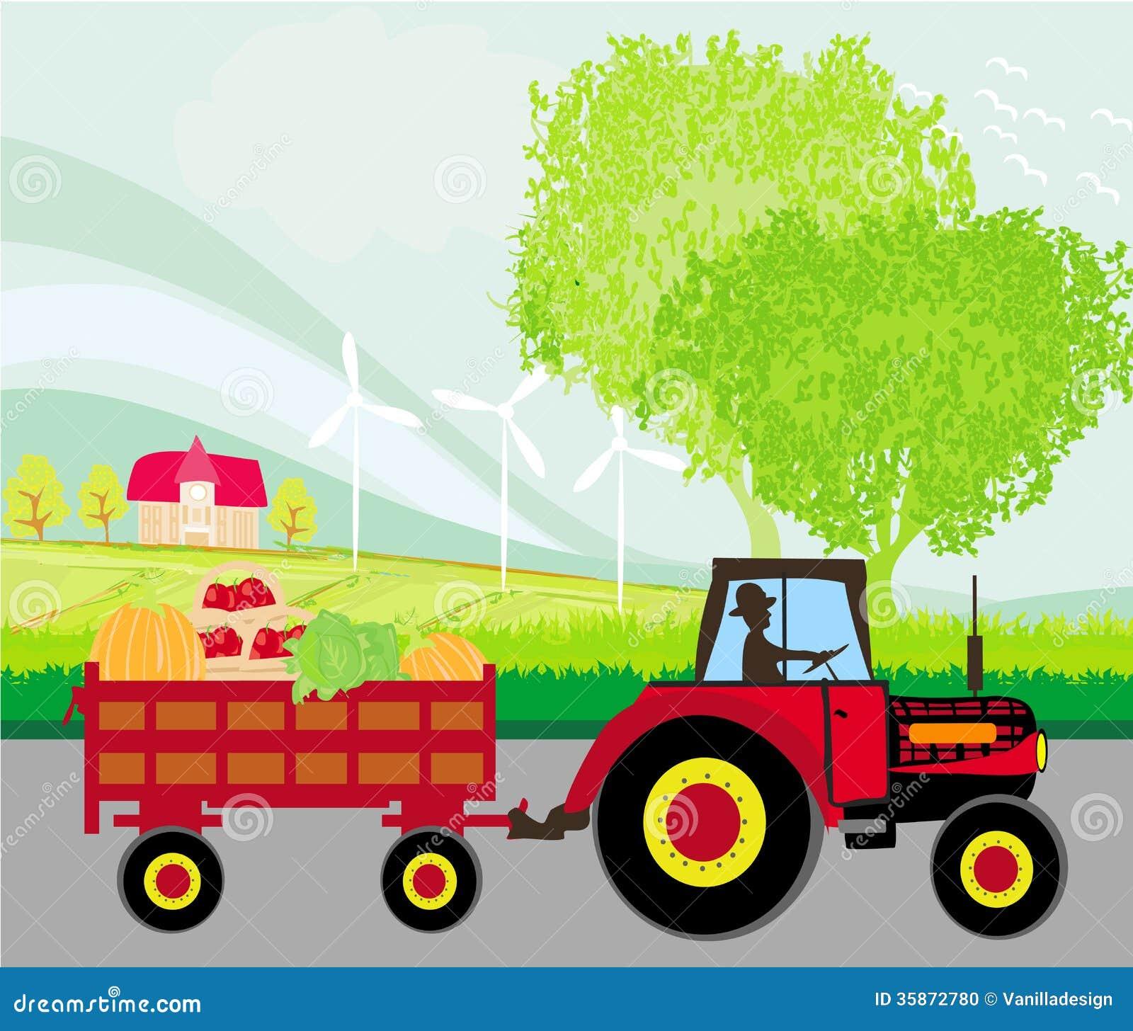 quipez conduire un tracteur avec une remorque pleine des l gumes photo stock image 35872780. Black Bedroom Furniture Sets. Home Design Ideas