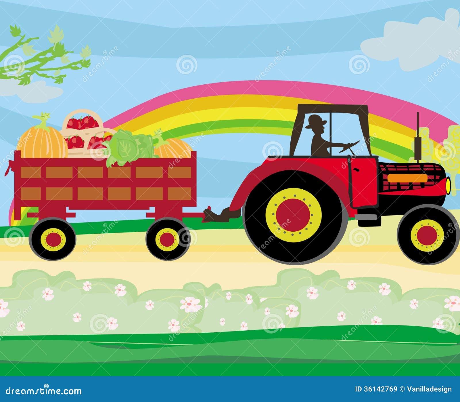 quipez conduire un tracteur avec une remorque pleine des l gumes images libres de droits. Black Bedroom Furniture Sets. Home Design Ideas