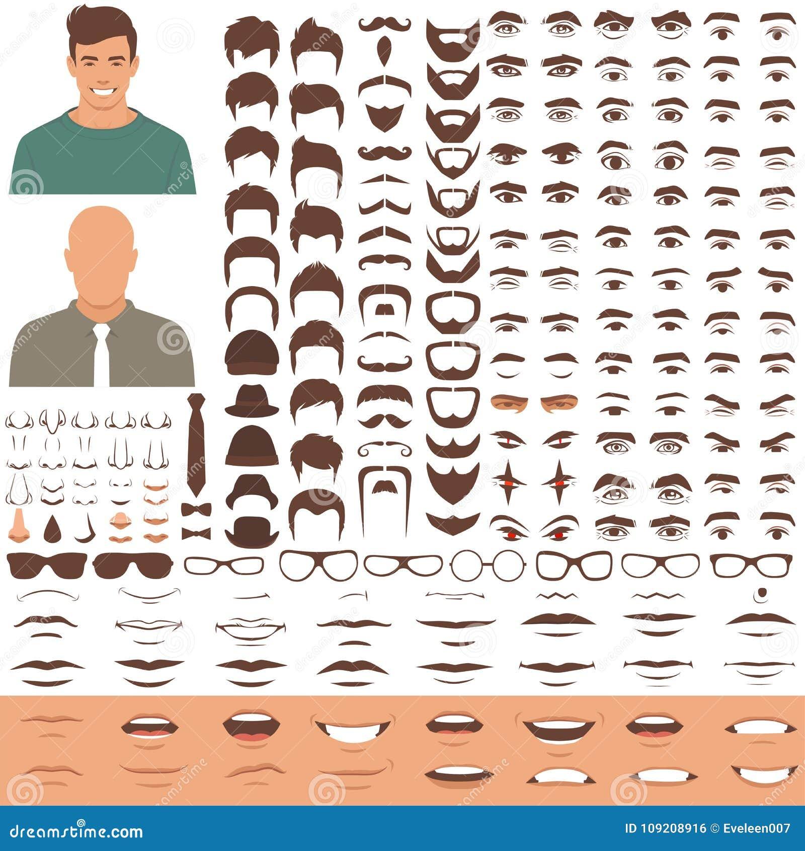 Équipez l ensemble d icône de pièces de visage, de tête de caractère, de yeux, de bouche, de lèvres, de cheveux et de sourcil