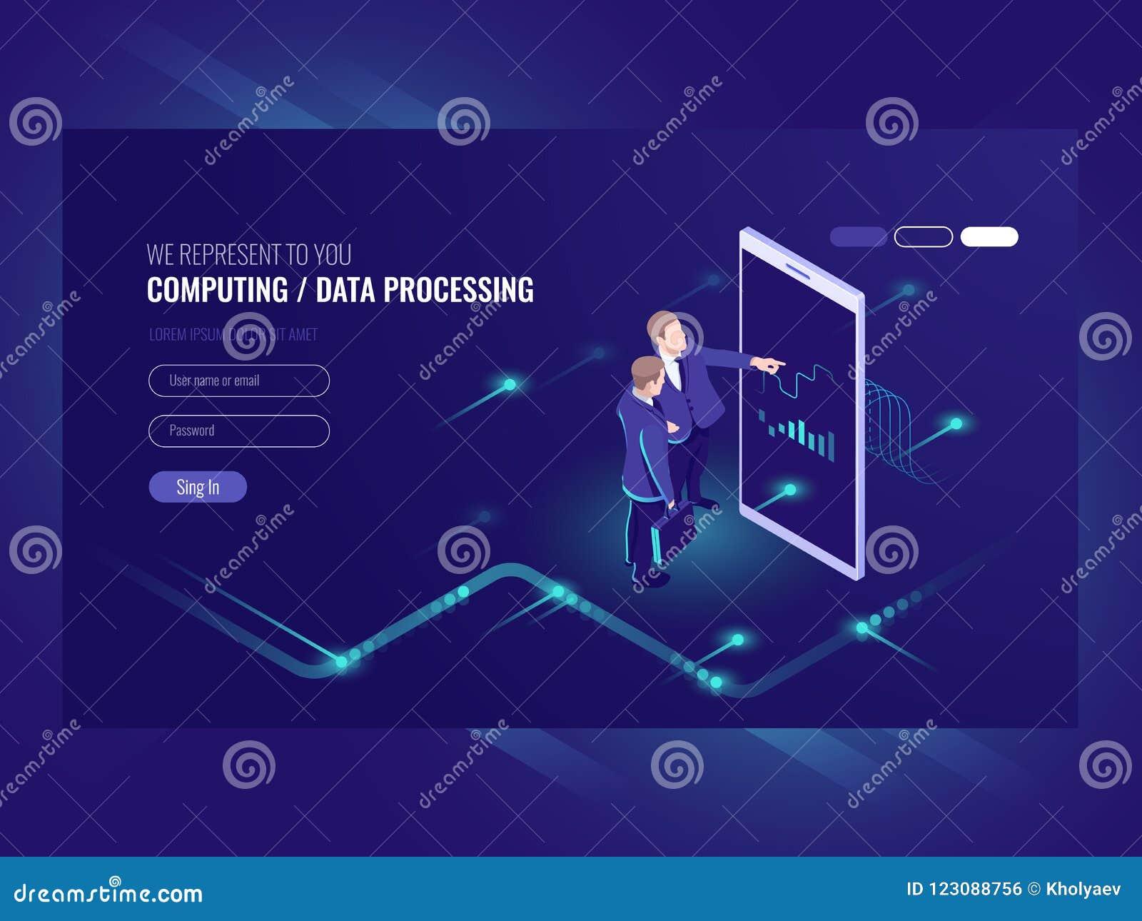 Équipez le diagramme graphique de sembler, concept d analytics d affaires, grande icône informatique, interface de réalité virtue