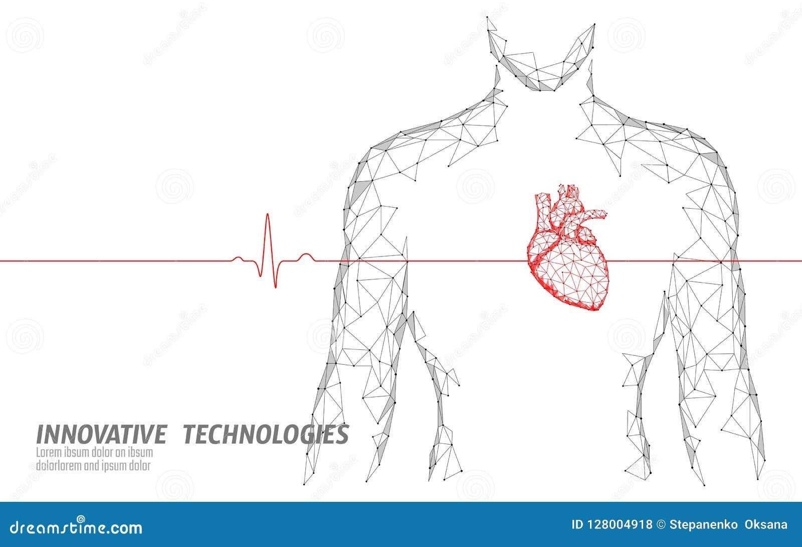Équipez le modèle sain de médecine des battements de coeur de silhouette 3d bas poly Docteur en ligne de point de lueur de points
