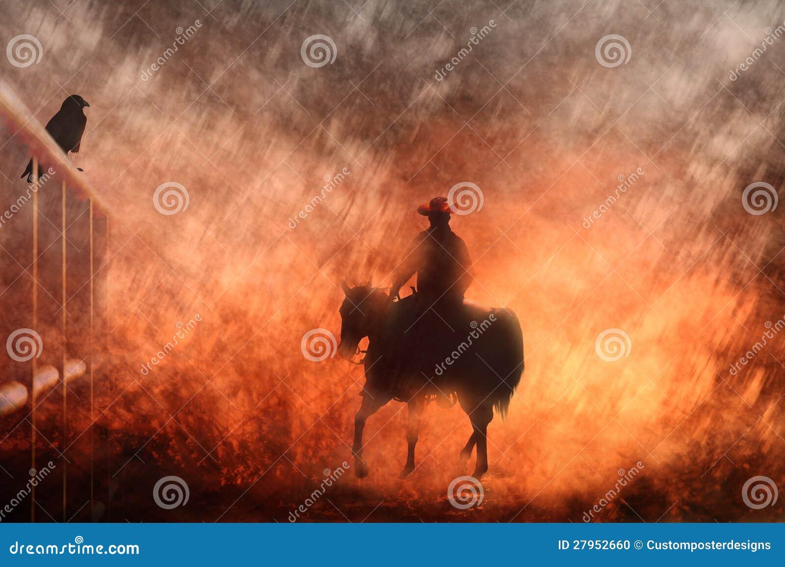 Équitation de cowboy sur un cheval III.