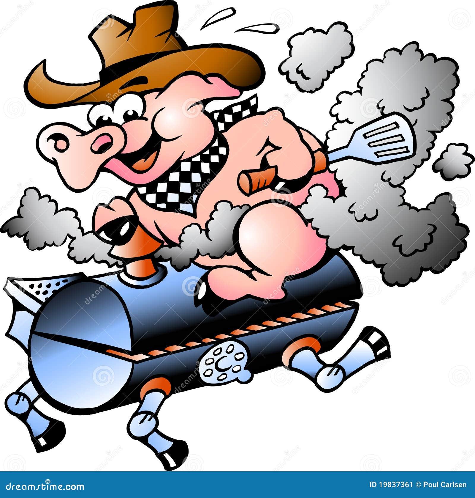 Équitation de porc sur un baril de BBQ
