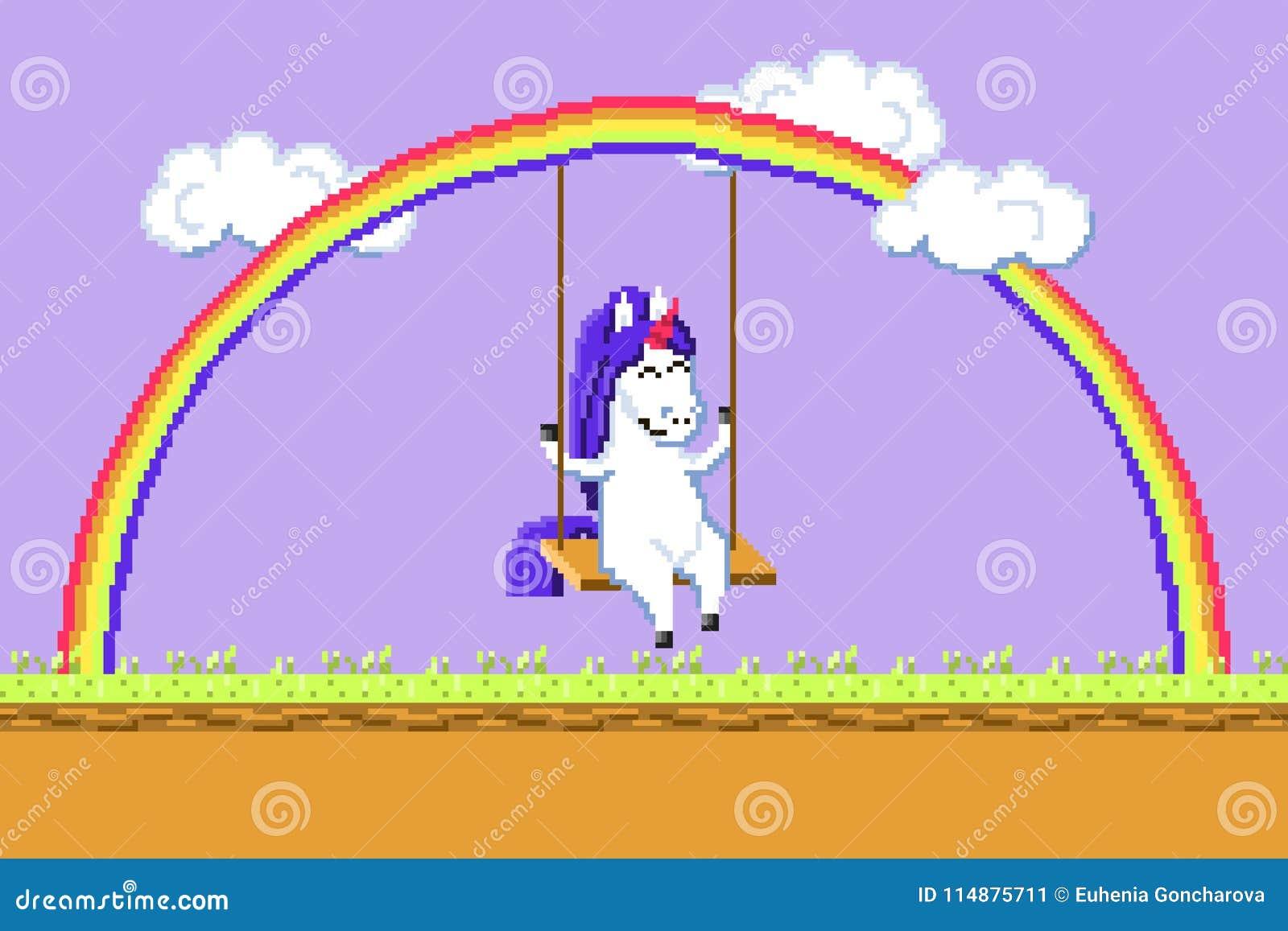équitation Heureuse De Licorne Dart De Pixel Sur Une
