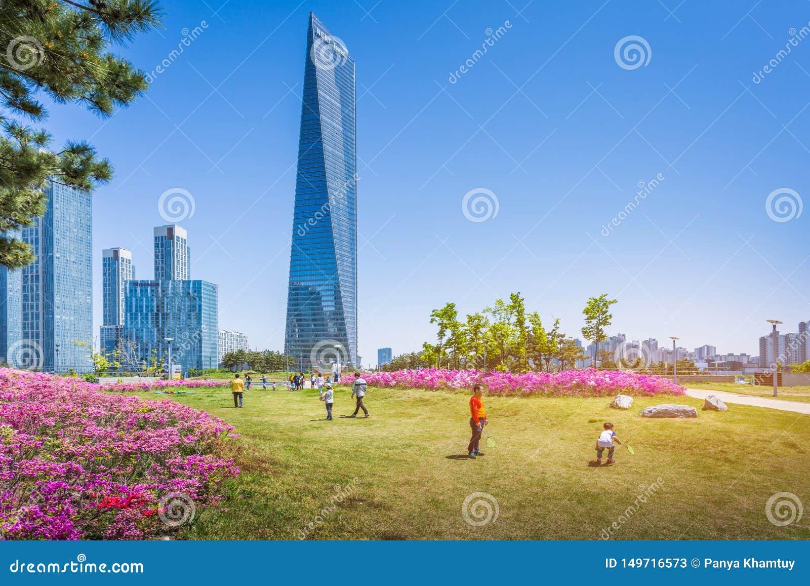 Été à Séoul avec la belle fleur, Central Park au district des affaires international de Songdo, Incheon Corée du Sud
