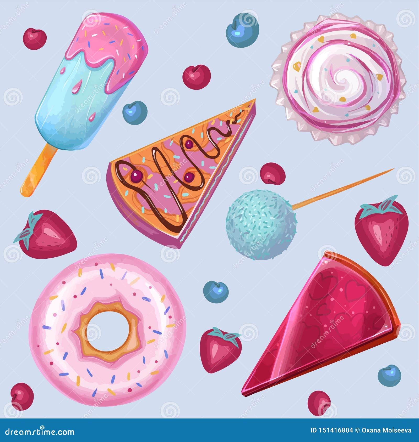 Été, nourriture douce, crème glacée, beignet Ensemble de vecteur