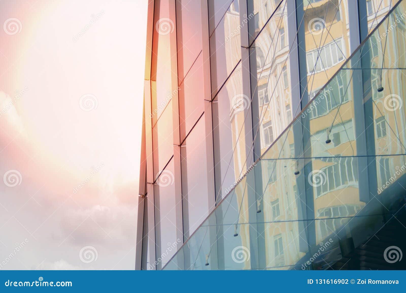 Établir un angle faible d affaires d entreprise Verre et gratte-ciel en acier de district des affaires d Art Nouveau Message publ