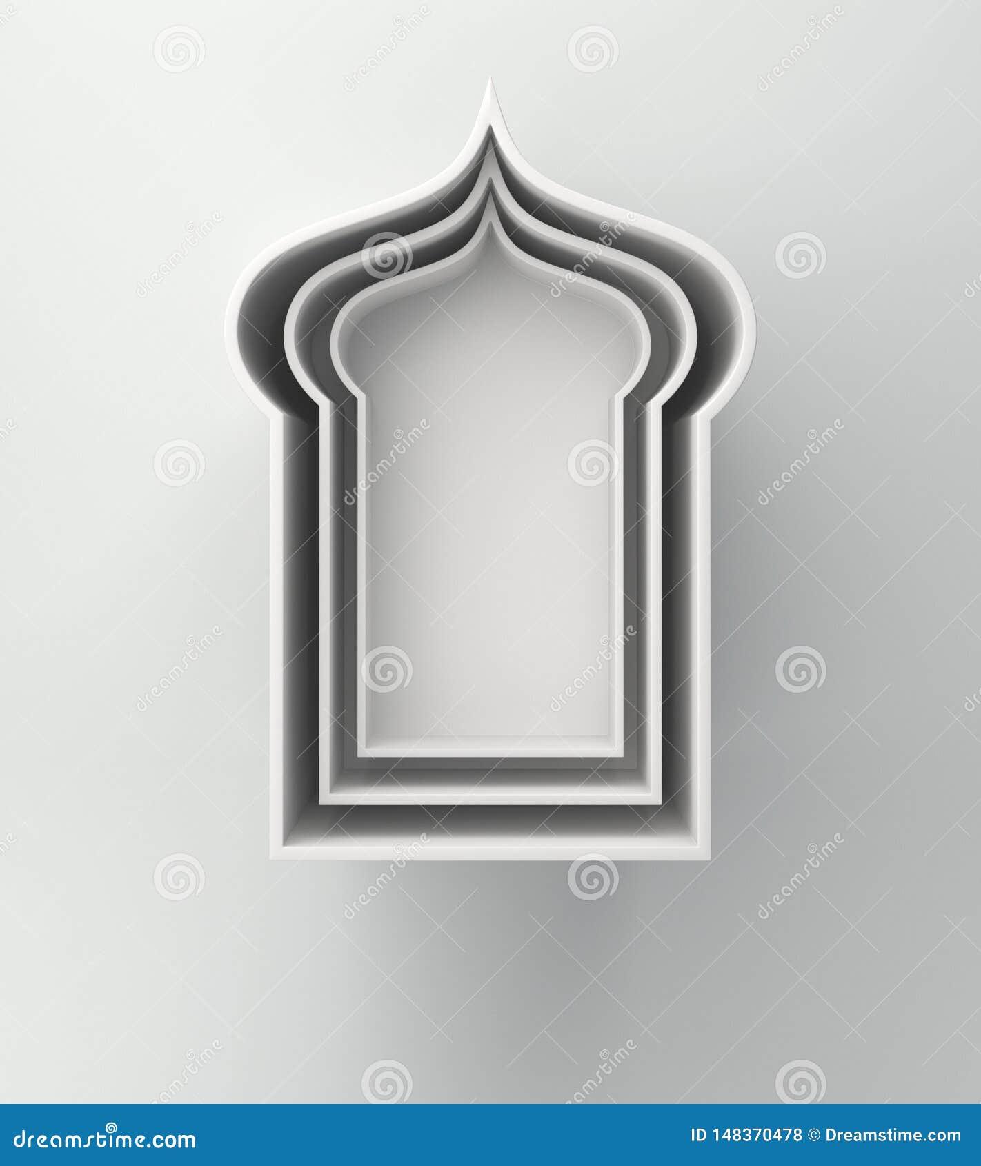 Étagère arabe de fenêtre sur le fond blanc Concept cr?atif de conception de kareem de Ramadan de jour de c?l?bration ou d adha is