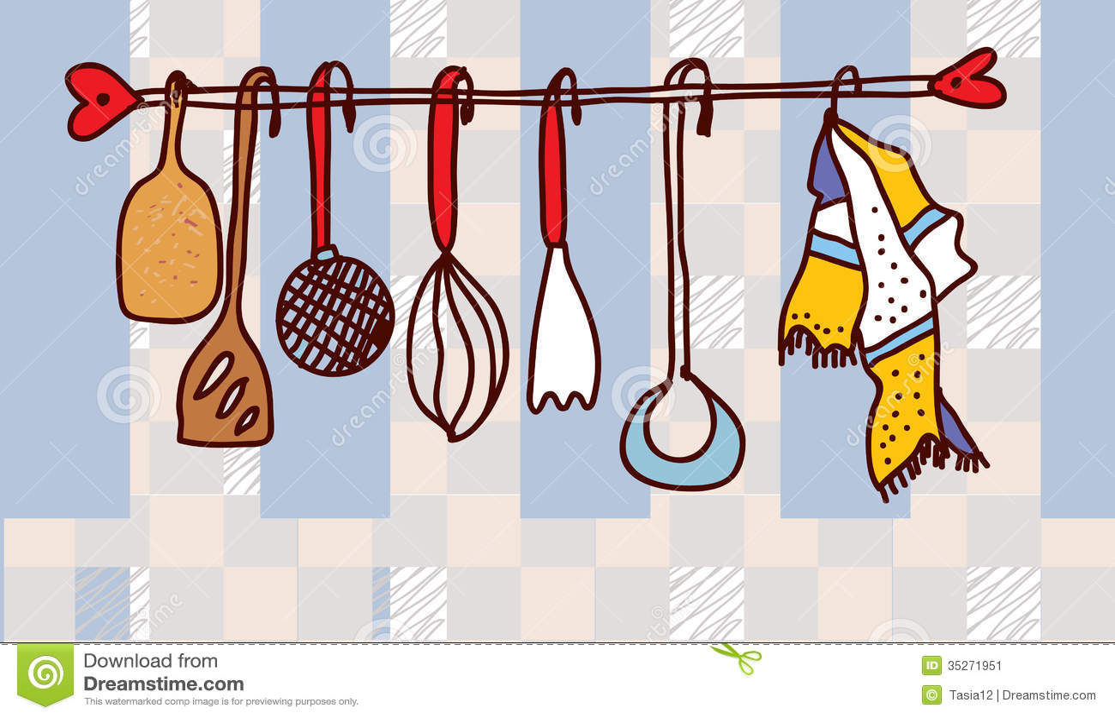 Tag re d 39 ustensiles de cuisine dr le image stock image - Ustensiles de cuisine rigolo ...