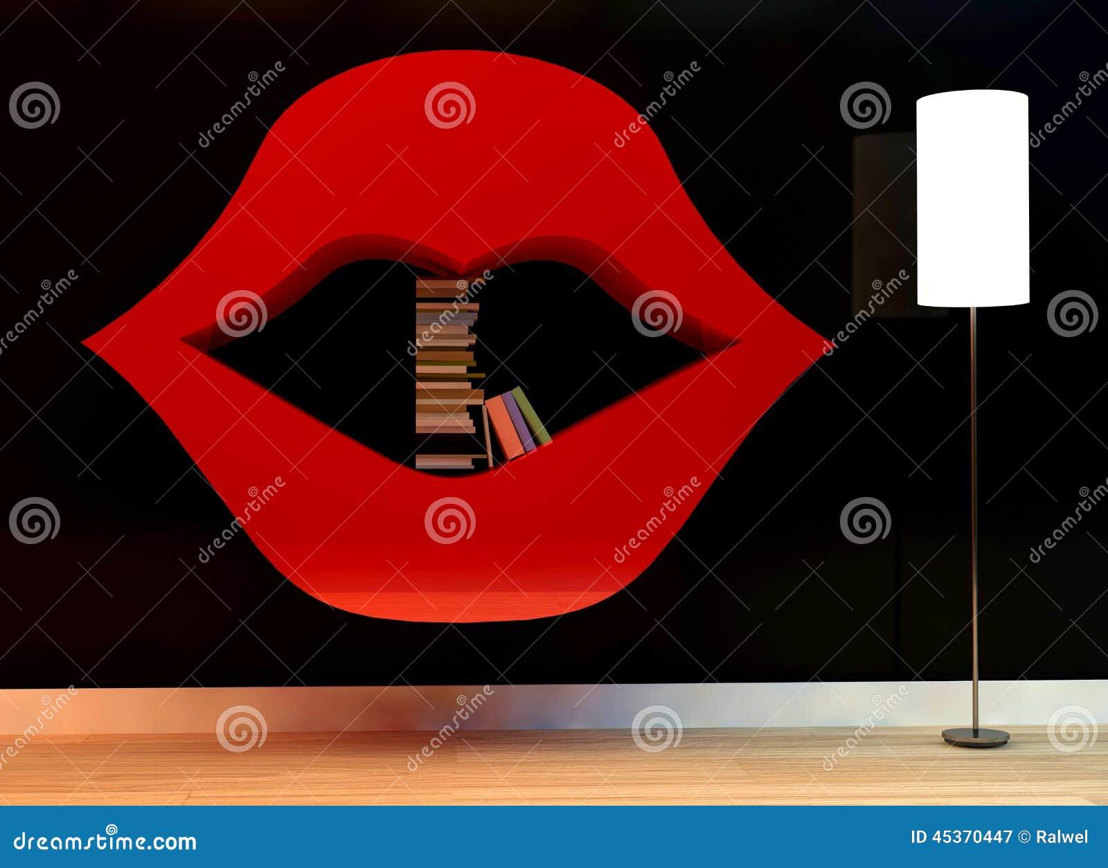 Étagère dans la forme des lèvres