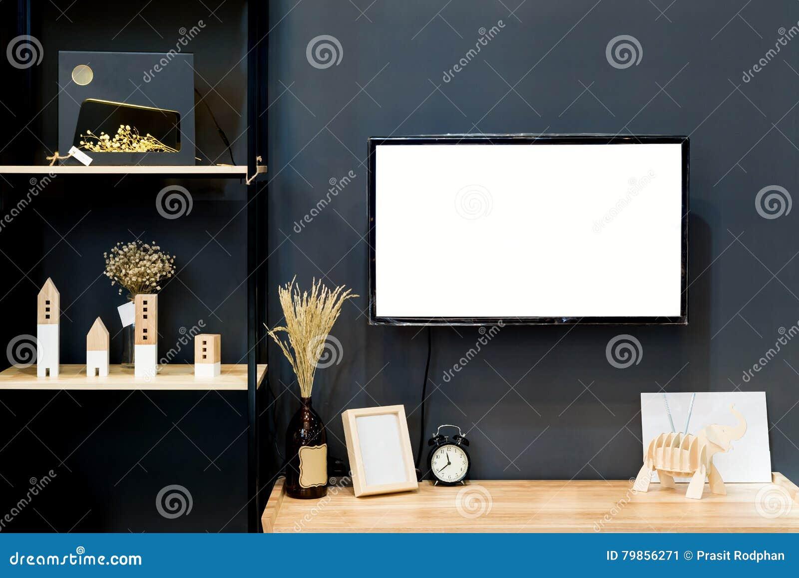 Tag Re En Bois Moderne Avec La Tv Plate Dans Le Salon La Maison  # Etagere Salon Tv