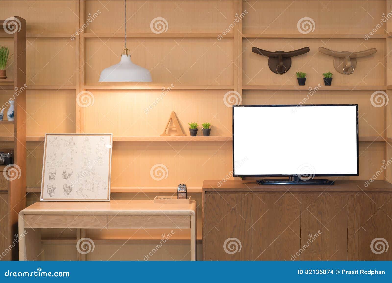 Tag Re En Bois Moderne Avec La Tv Plate Dans Le Salon La Maison  # Etagere Tv Bois