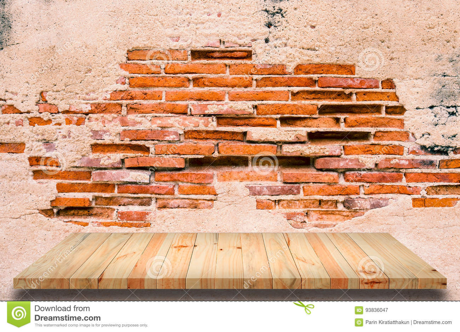 Etagere Sur Mur En Brique Étagère en bois sur le vieux fond de mur de briques image