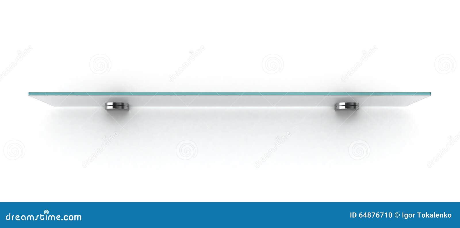 Étagère en verre vide sur le mur blanc illustration stock