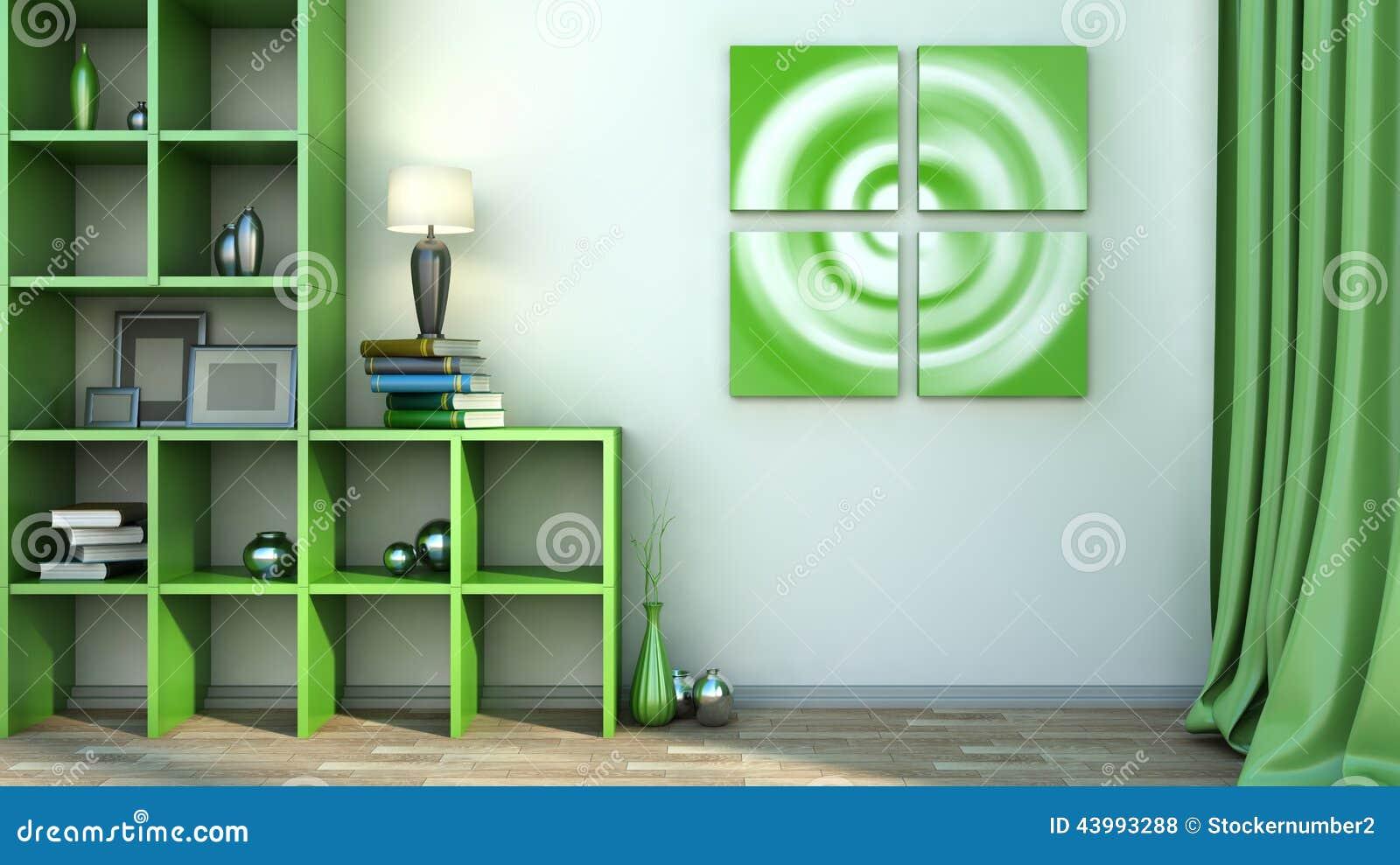 Étagère Verte Avec Des Vases, Des Livres Et La Lampe Illustration