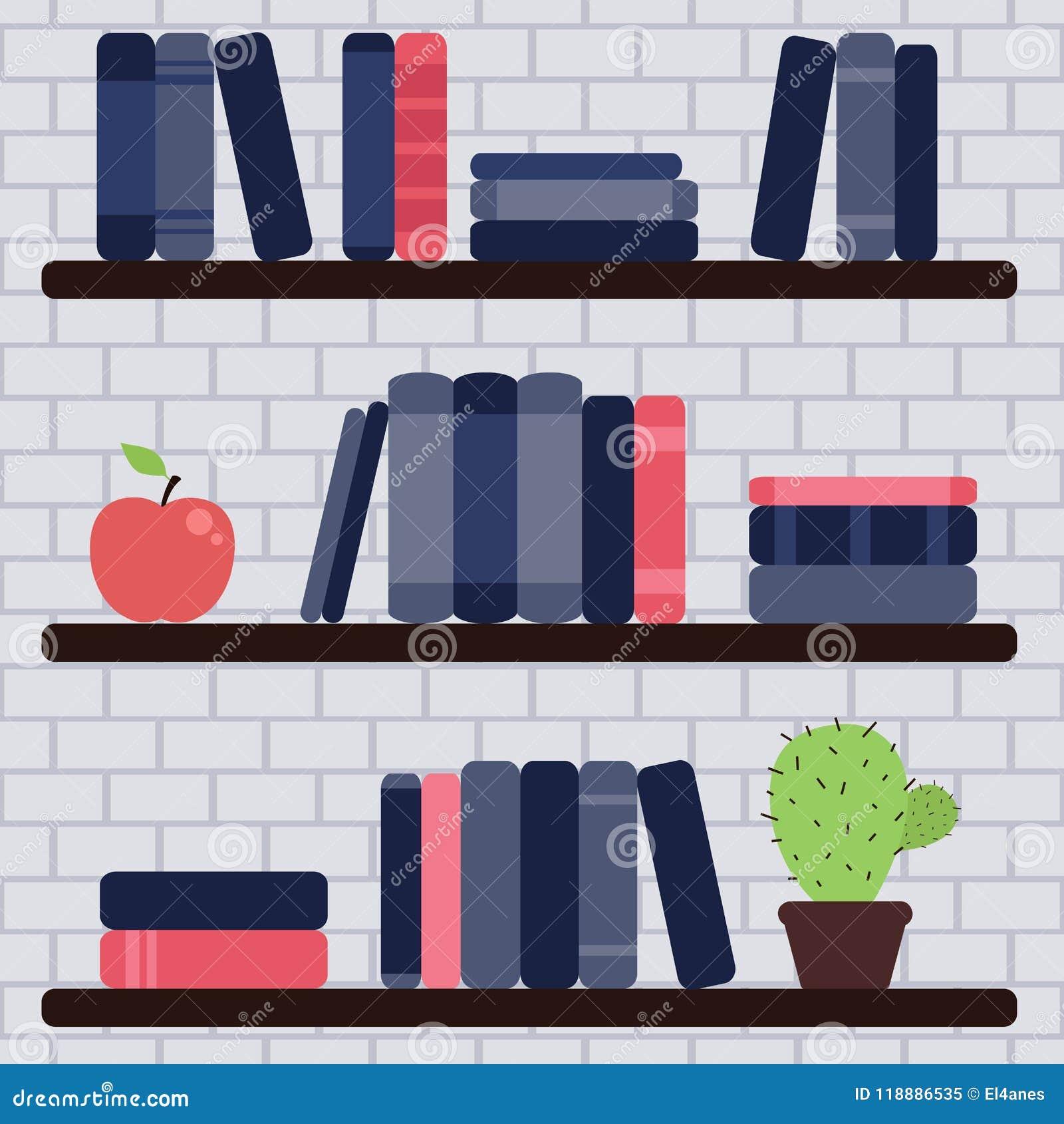 Etagere Sur Mur En Brique Étagères à livres sur le mur de briques illustration de