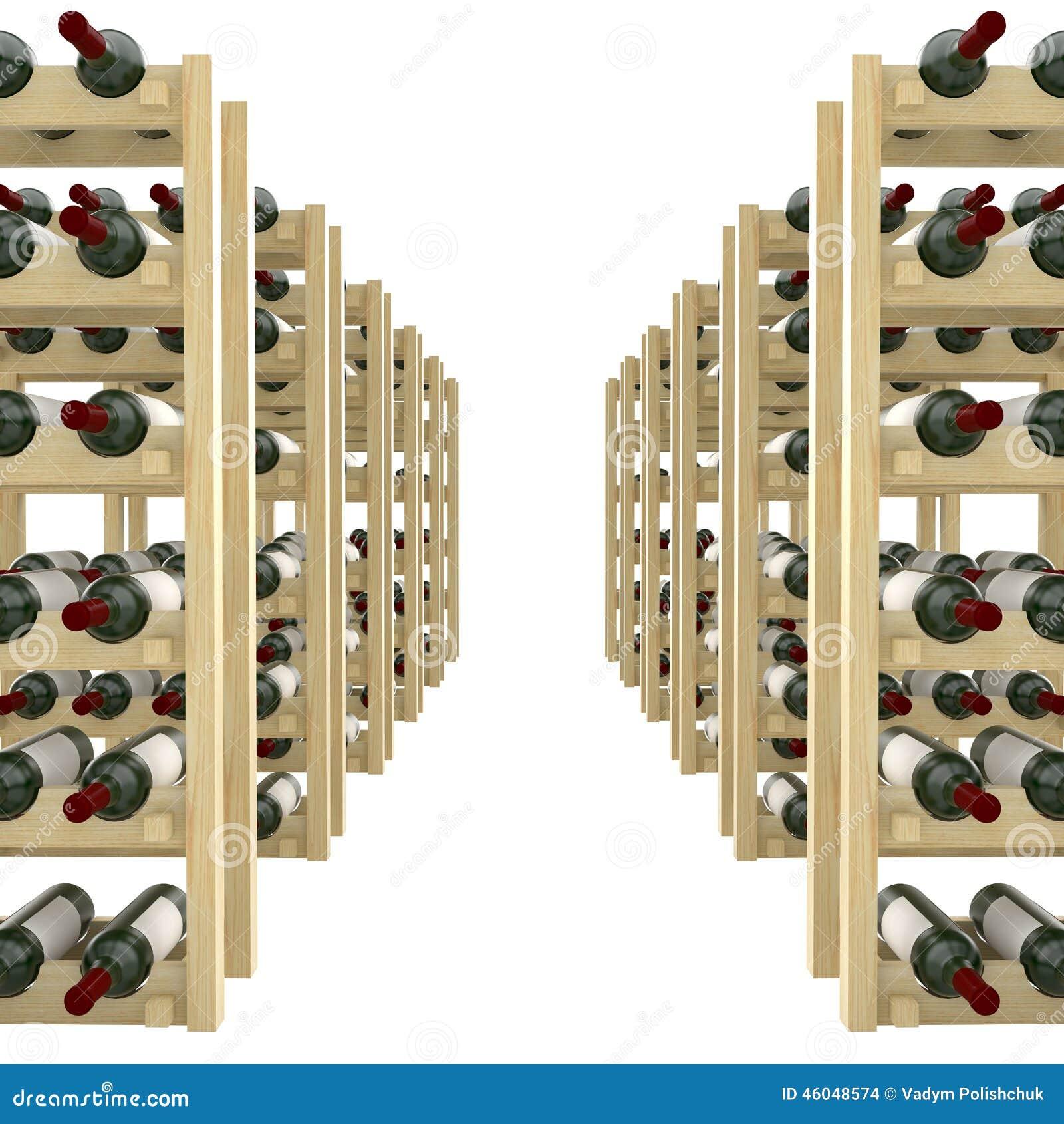 Tag res en bois avec des bouteilles d 39 isolat de vin sur le fond blanc illustration stock for Etagere bouteille le havre