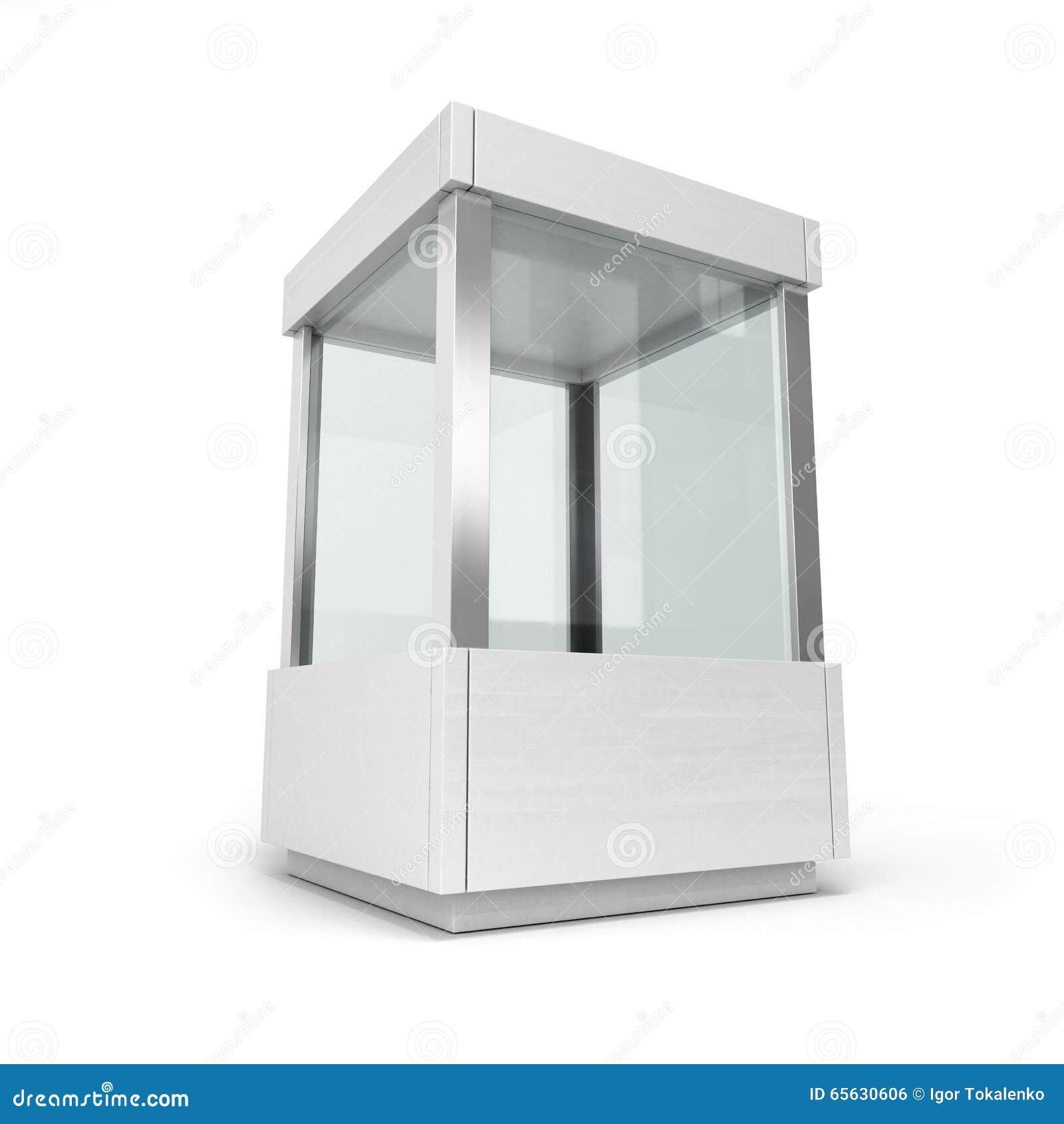 Étalage en verre blanc avec une couverture d isolement sur un fond blanc