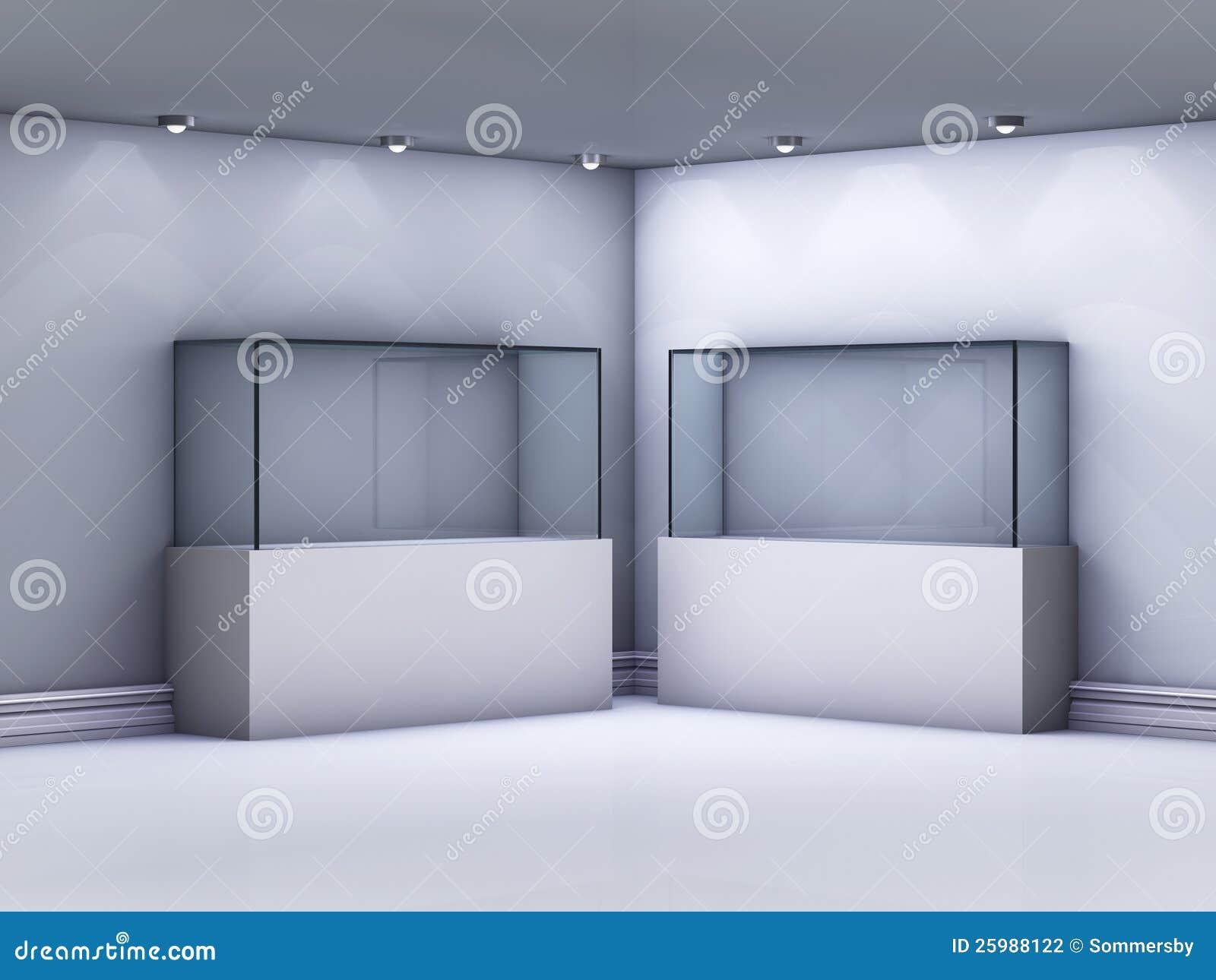 Étalages en verre dans la rampe