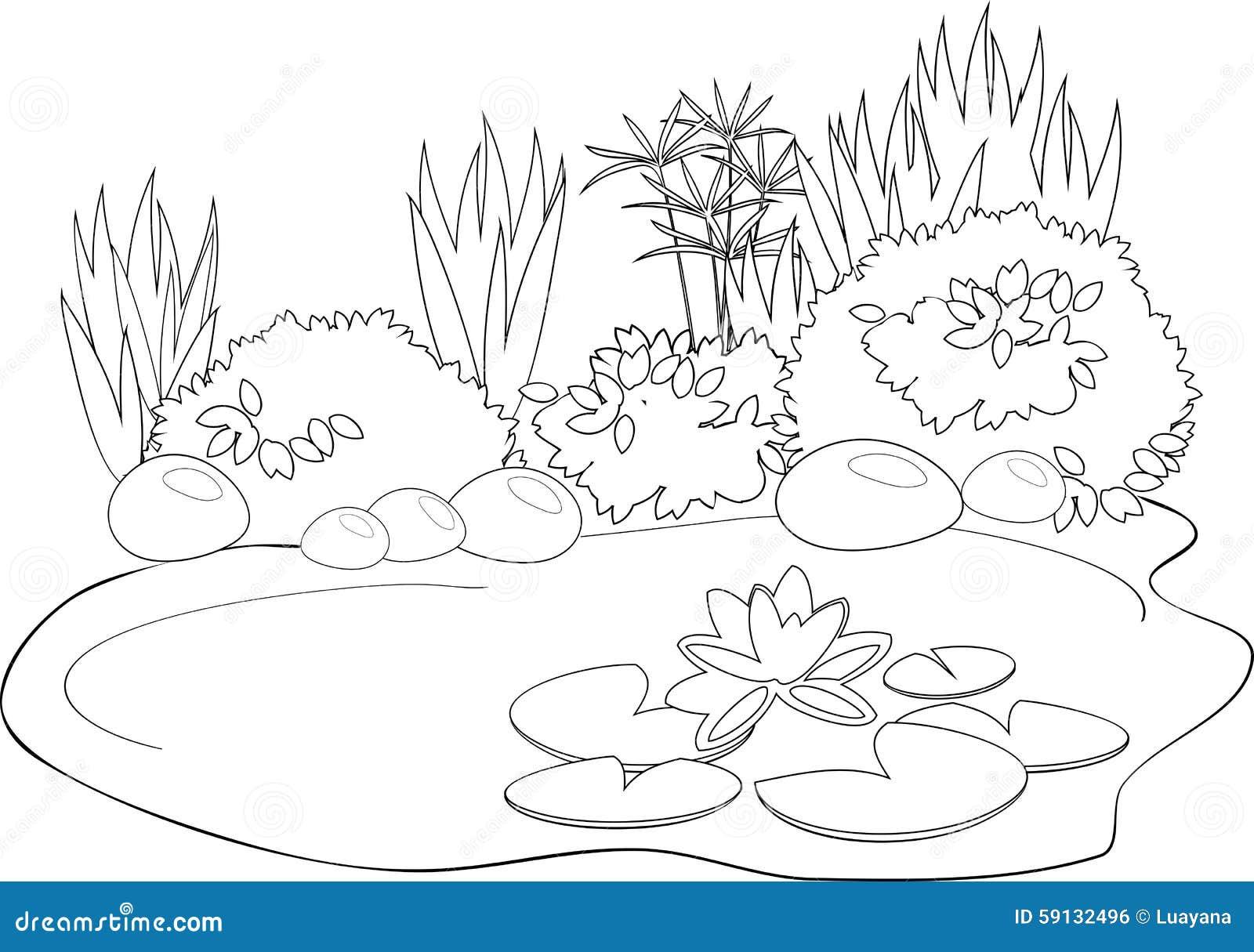 Tang de coloration illustration de vecteur illustration for Pond coloring pages