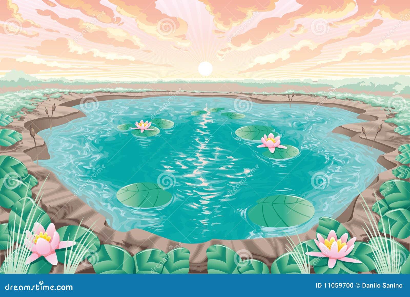 Étang de dessin animé avec le lotus