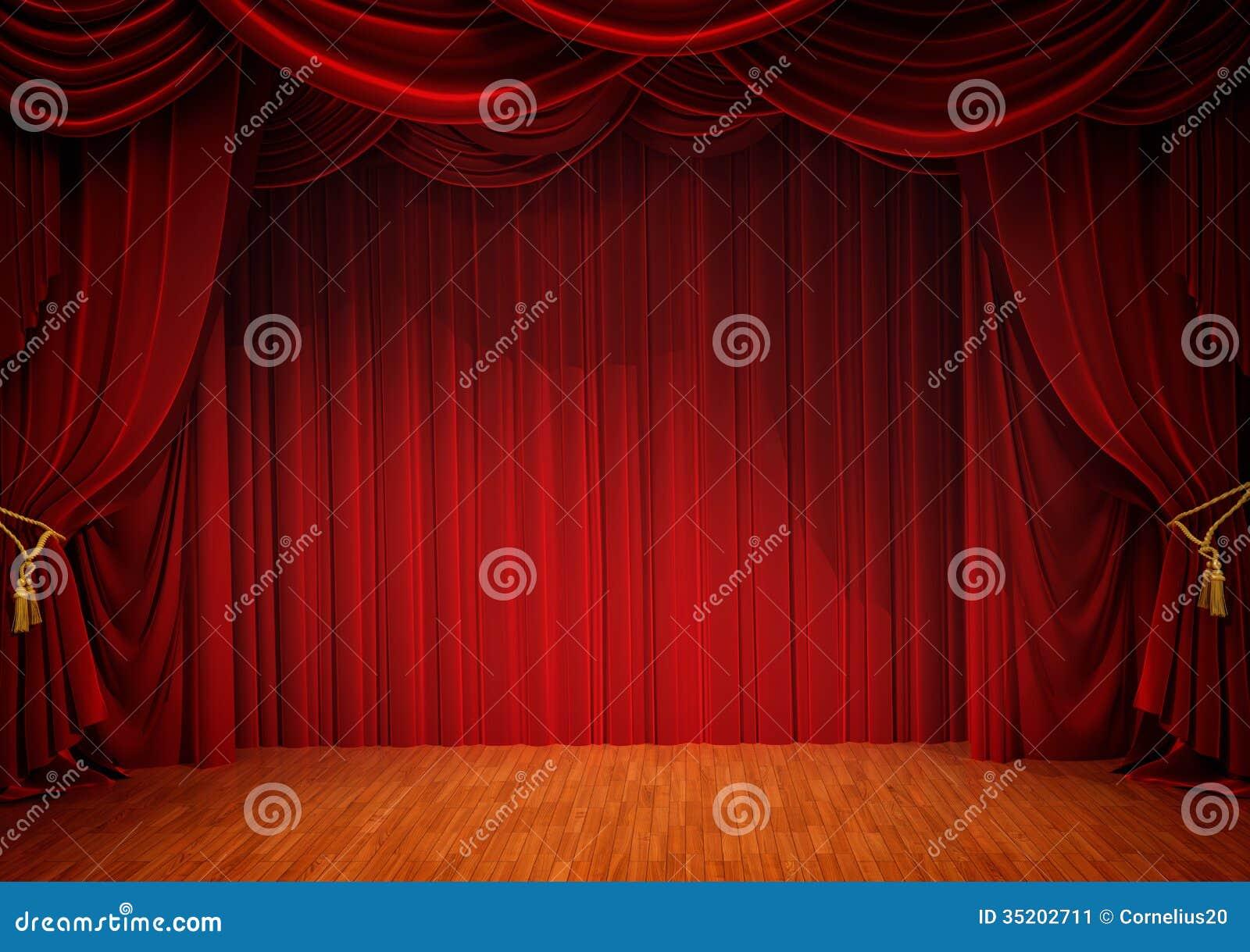 Étape avec le rideau rouge image stock. Image du couleur - 35202711