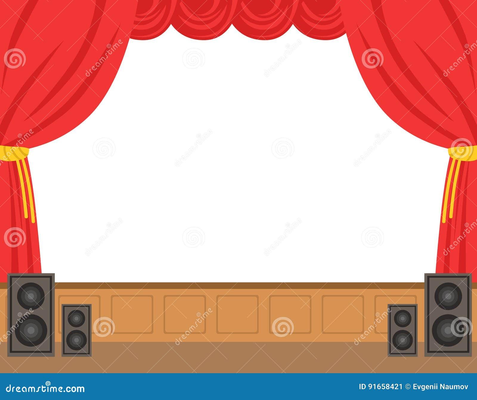 Tape de th tre avec le rideau rouge ouvert illustration - Dessin de theatre ...