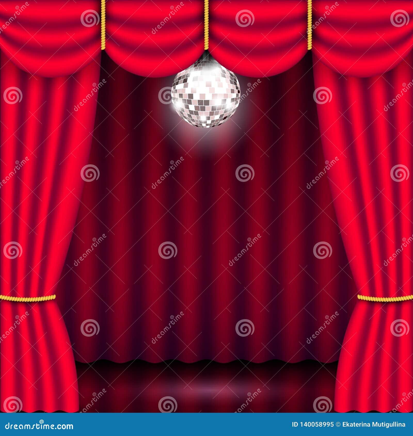 Étape de théâtre, rideau rouge et boule de miroir