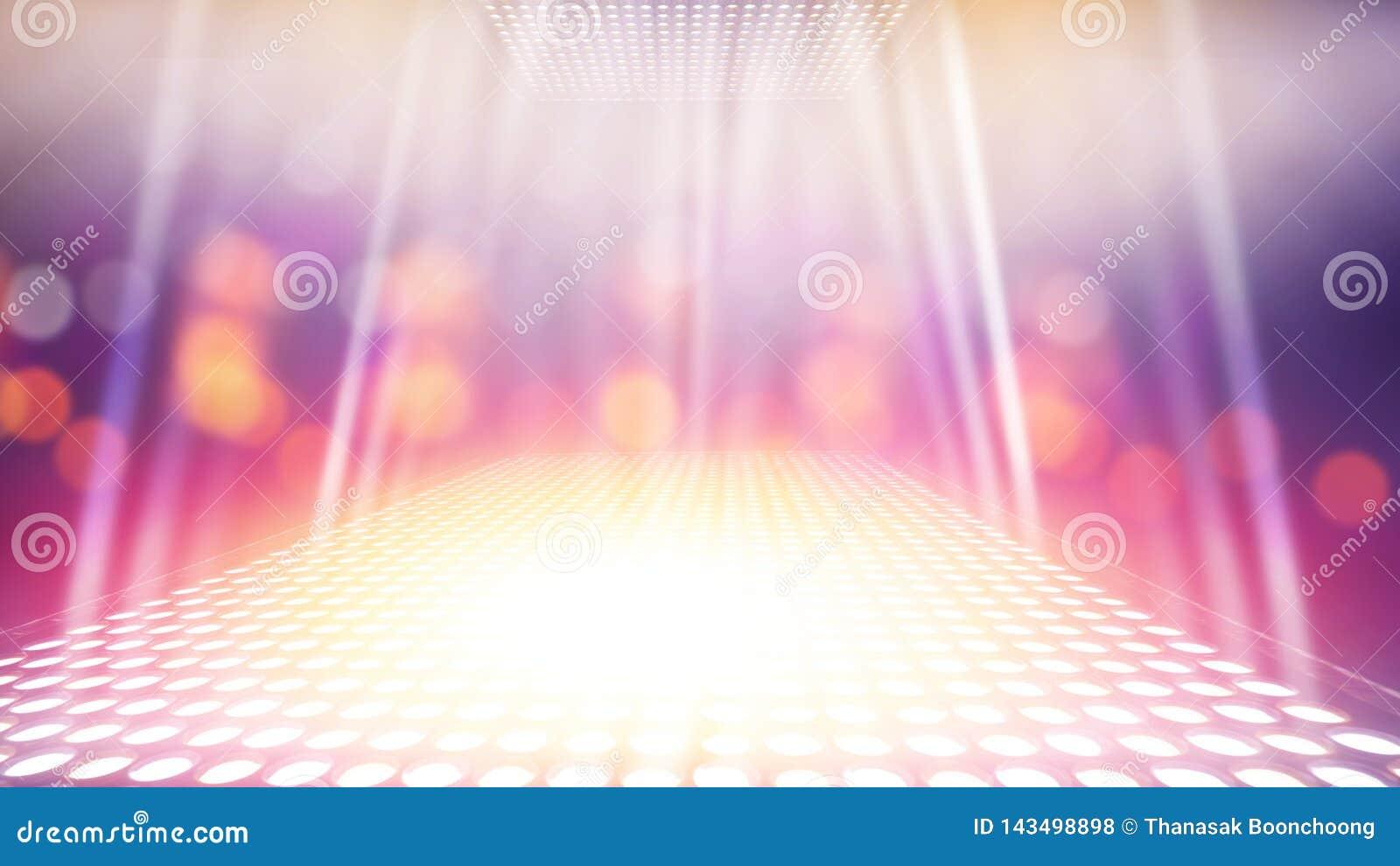 Étape légère lumineuse par résumé avec le fond coloré