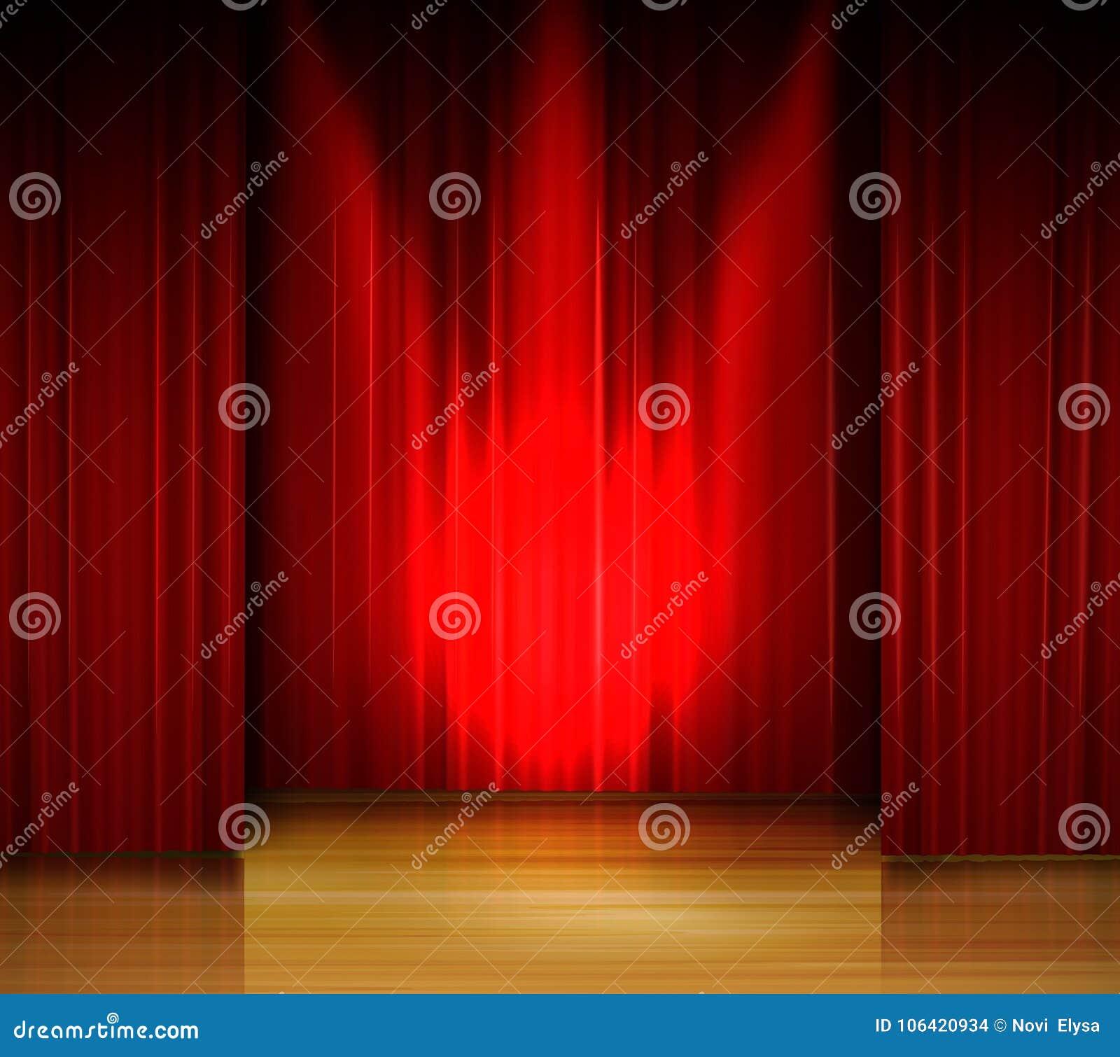 Étape Vide Avec Le Rideau Rouge Et Projecteur Sur Le Plancher En ...