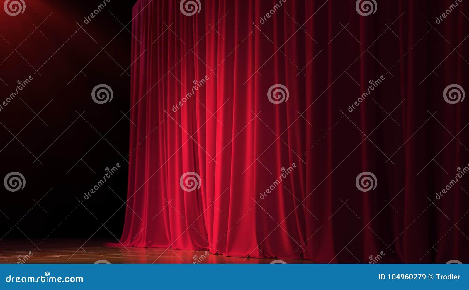 Étape vide foncée avec le rideau en rouge riche 3d rendent