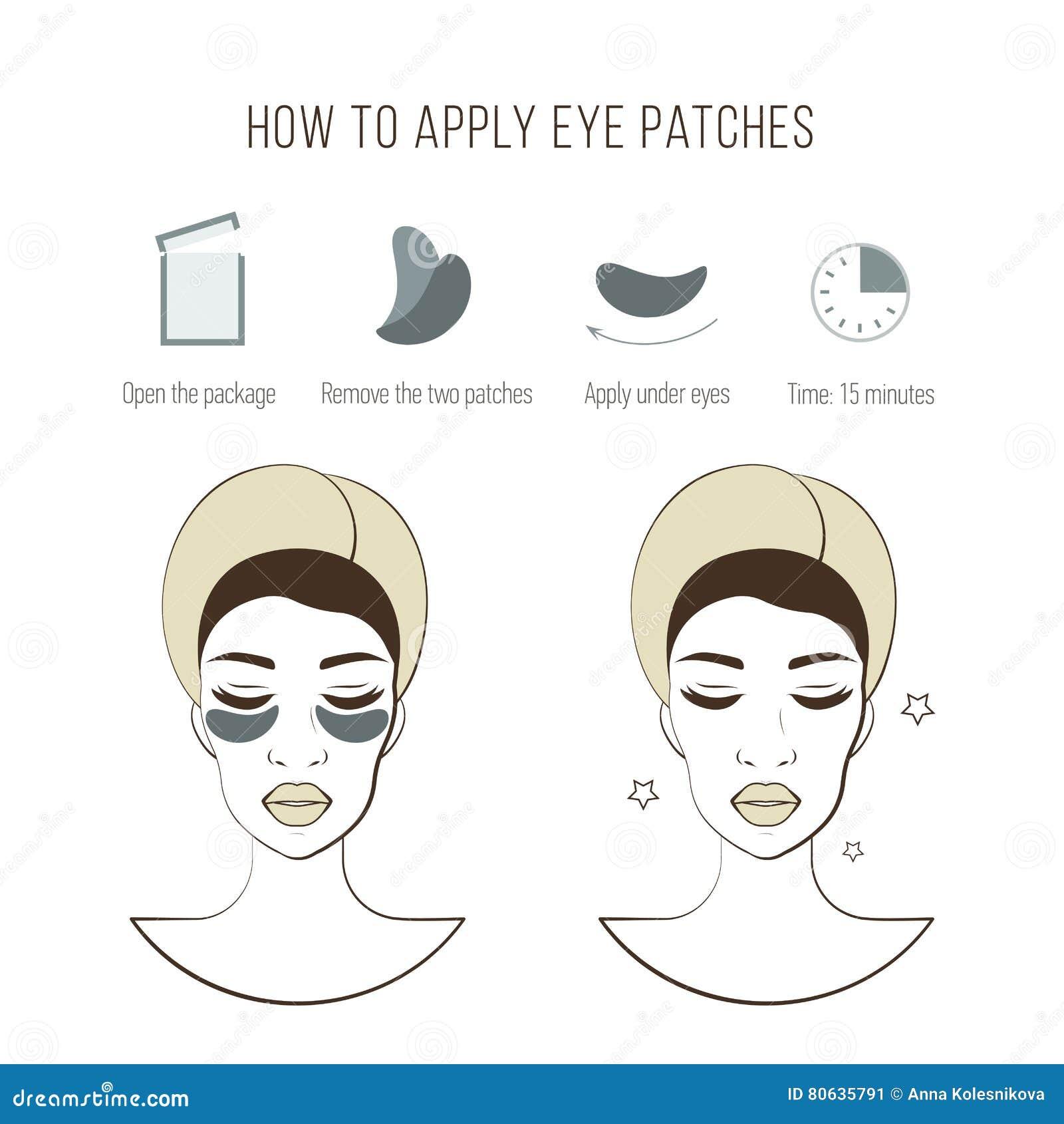 Étapes comment appliquer des corrections d oeil Masque cosmétique pour l oeil Illustrations de vecteur réglées