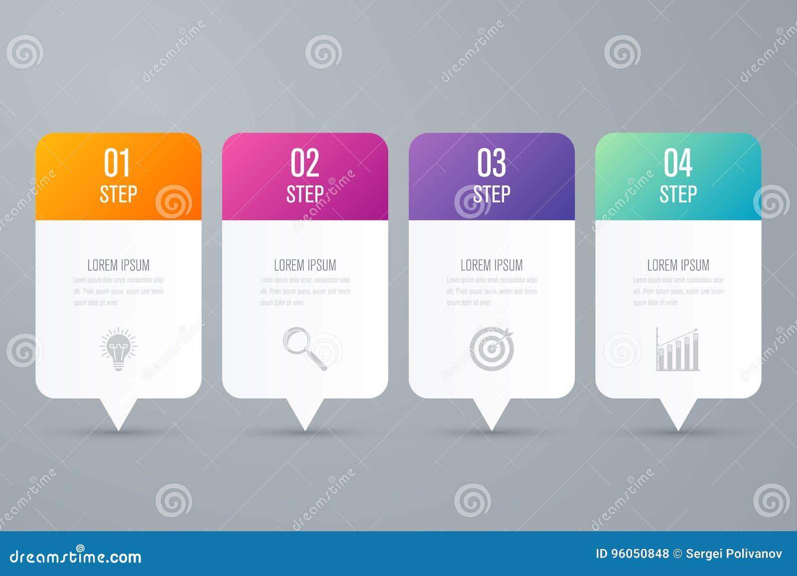 Étapes du calibre 4 d infographics d affaires avec la place