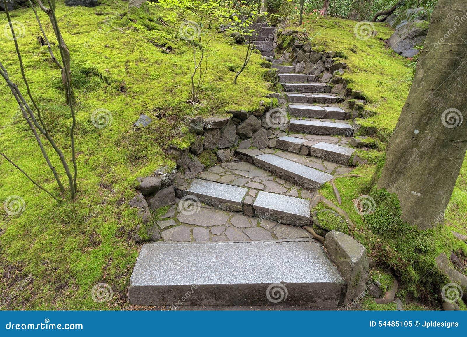 Tapes en pierre d 39 escalier dans le jardin japonais photo for Dans le jardin
